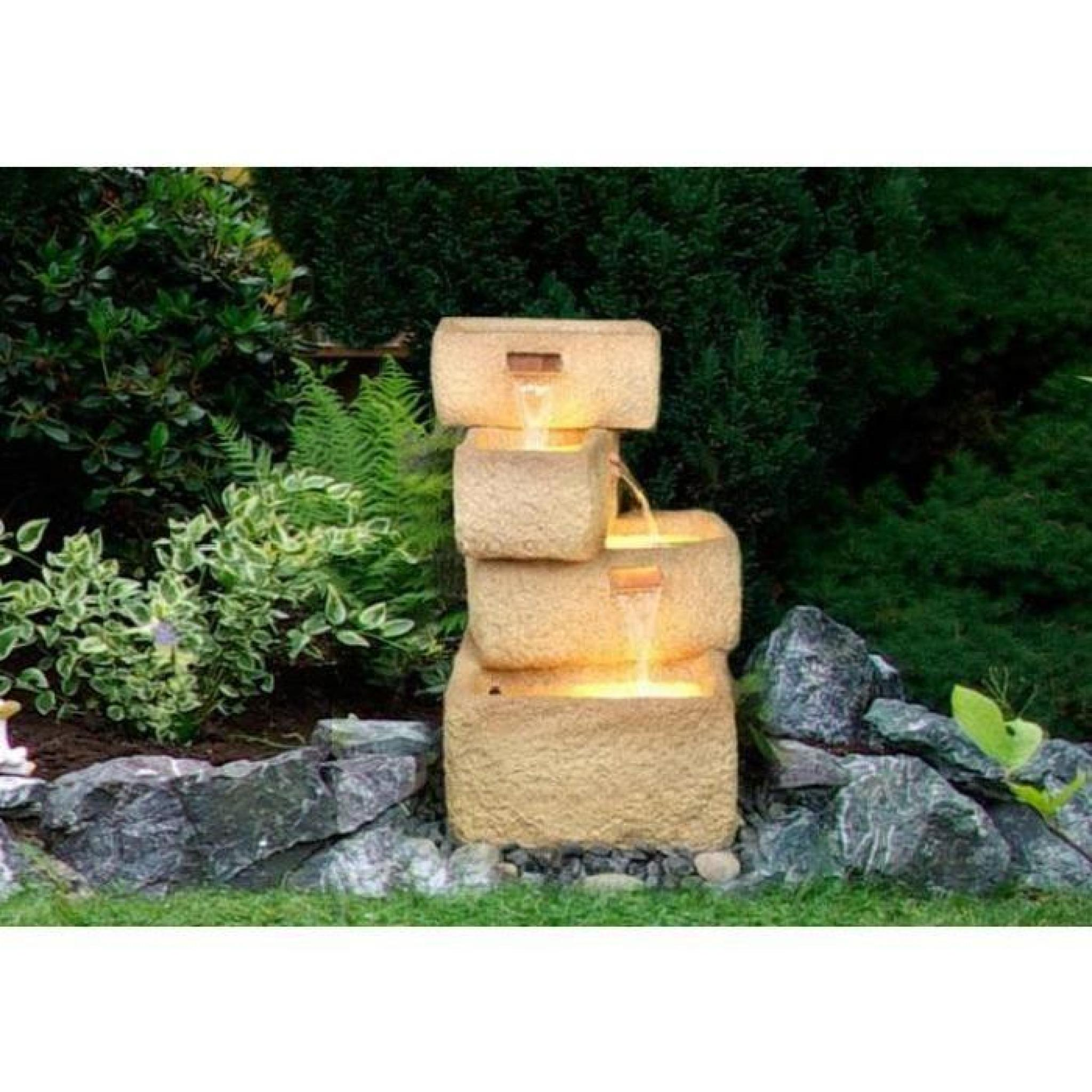 Fontaine poly r sine 4 tages illumin e achat vente for Decoration jardin resine
