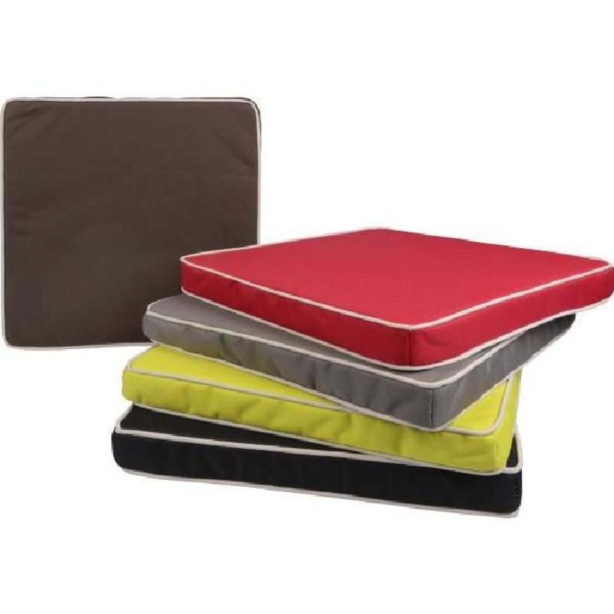 Galette de chaise d ext rieur 40x40 cm couleur anis gamme for Chaise couleur pas cher
