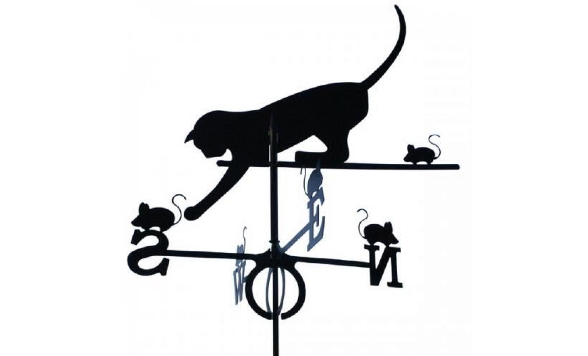 Girouette chat et souris en fer forgé