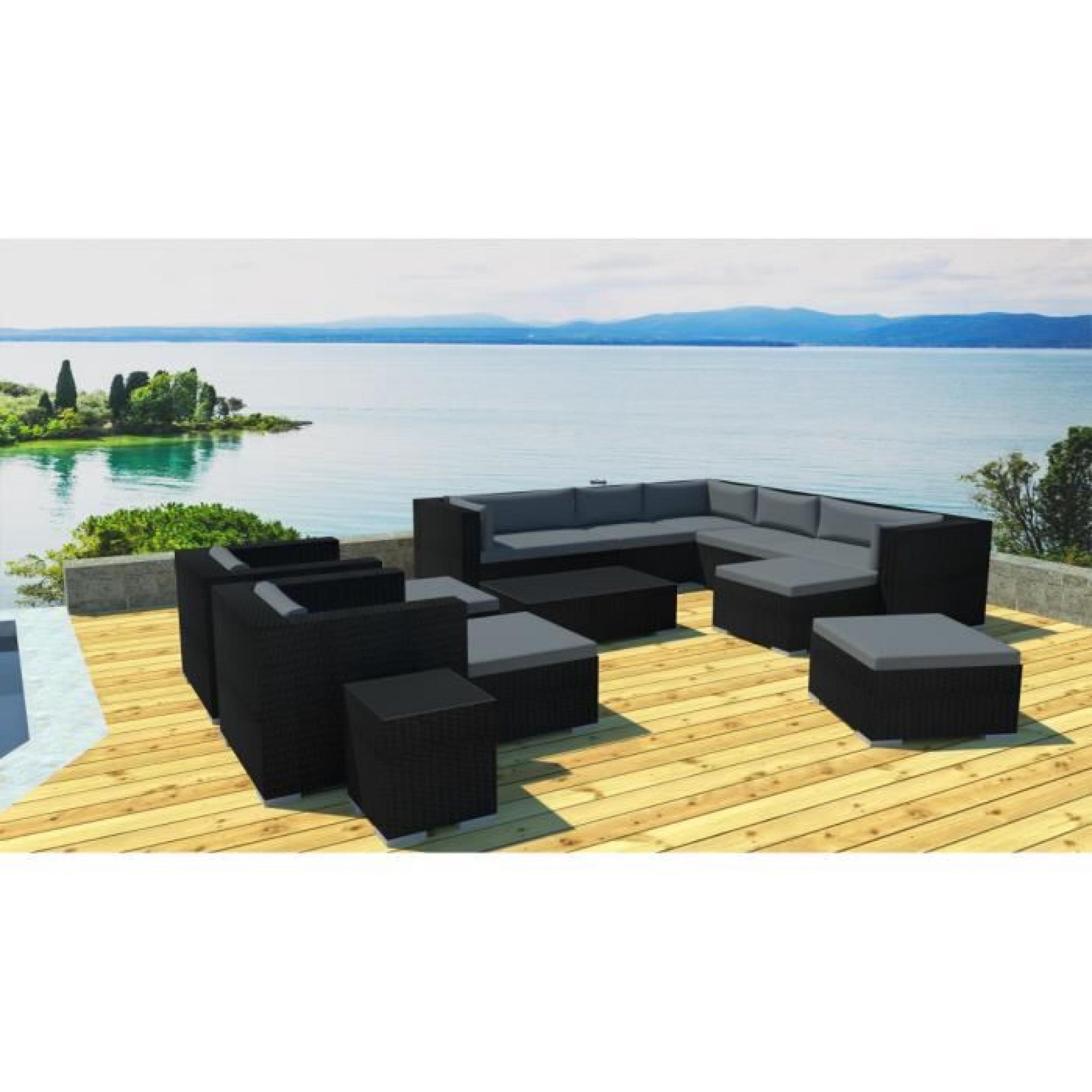 Grand salon jardin modulable en résine Noir/gris