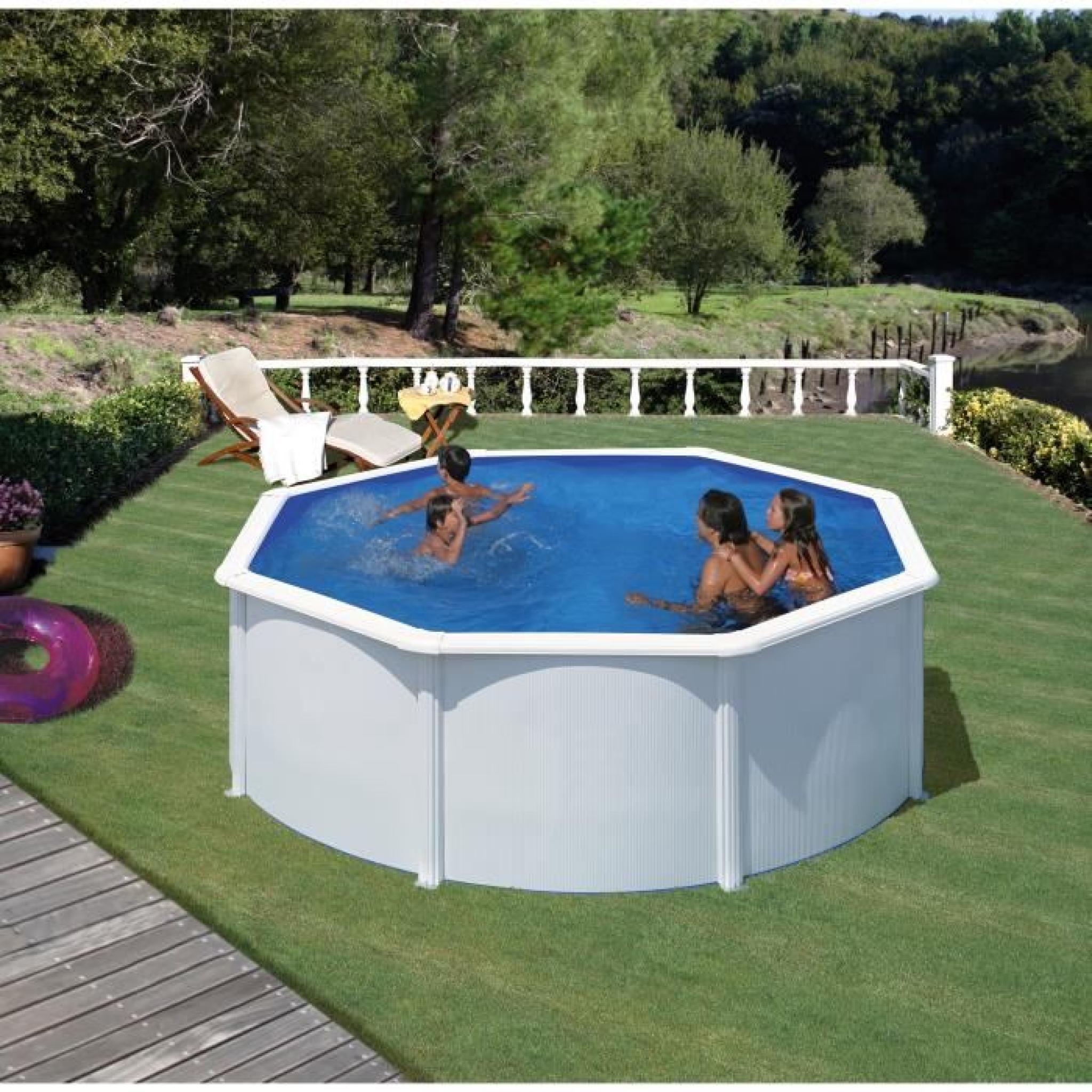 GRE Kit piscine hors-sol ronde en acier Wet Ø100,100x10,10 m - Liner bleu