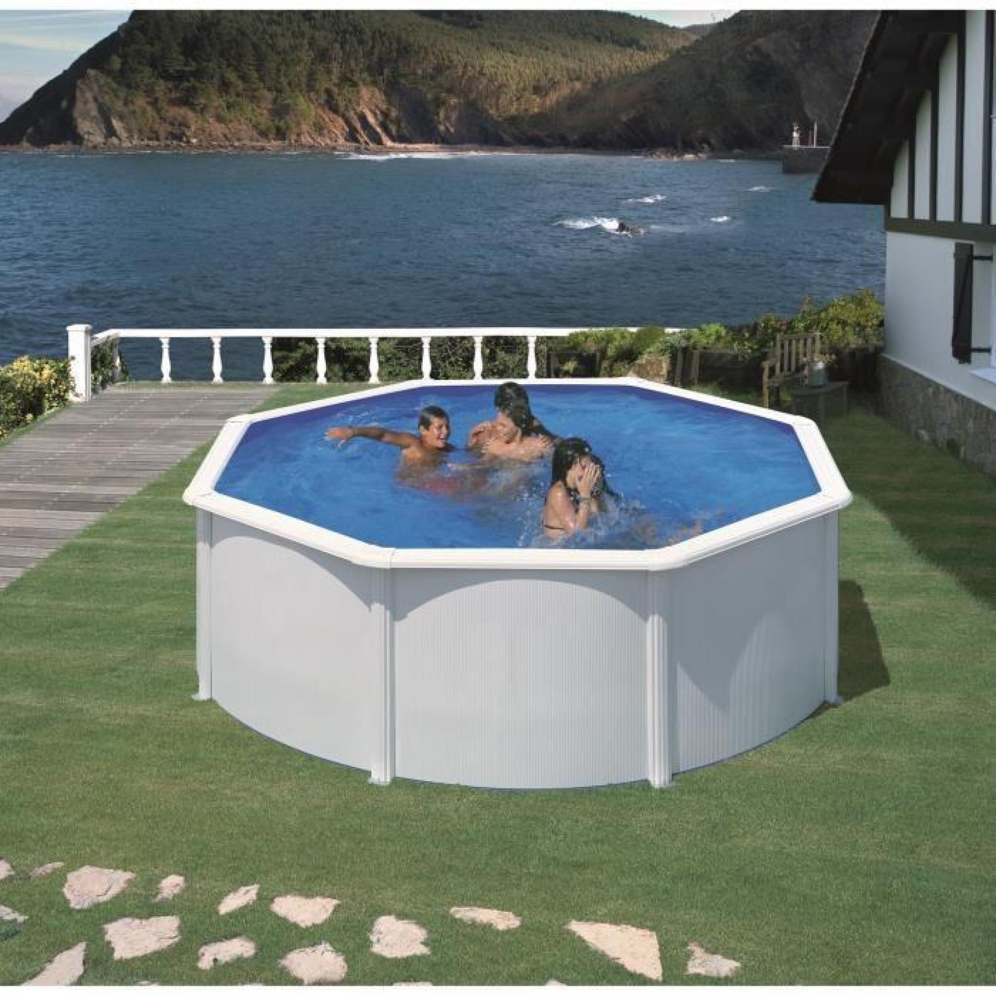 GRE Kit piscine hors-sol ronde en acier Wet Ø8,8x8,8 m - Liner bleu