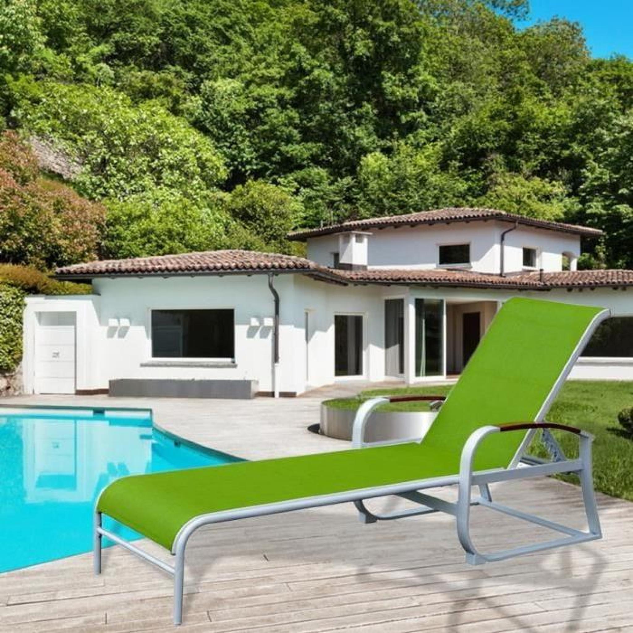 Homdox chaise longue jardin toile tissu acier tube for Chaise longue jardin pas cher