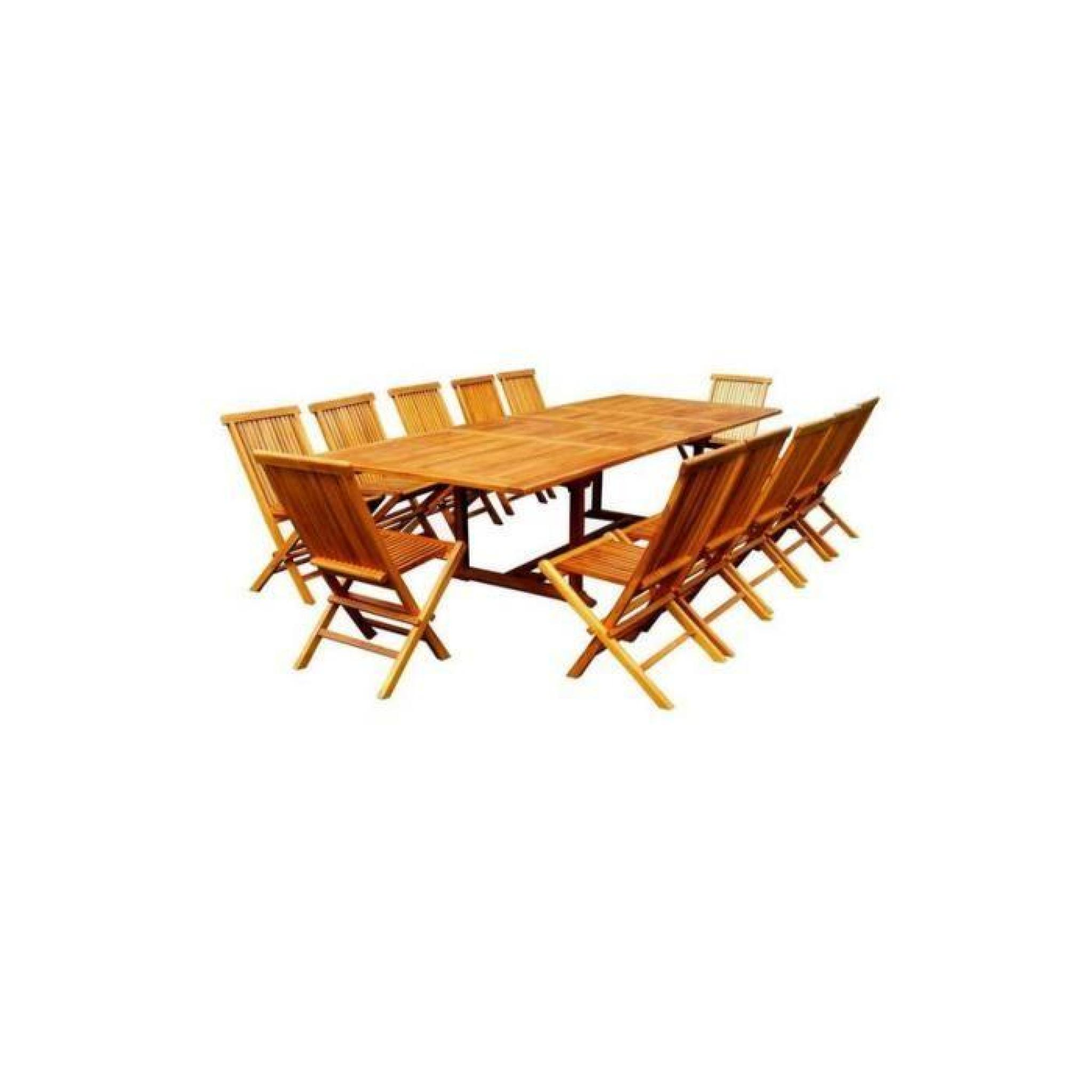 INAISLAND : salon de jardin en teck huilé 12 chaises + table 12-14 p