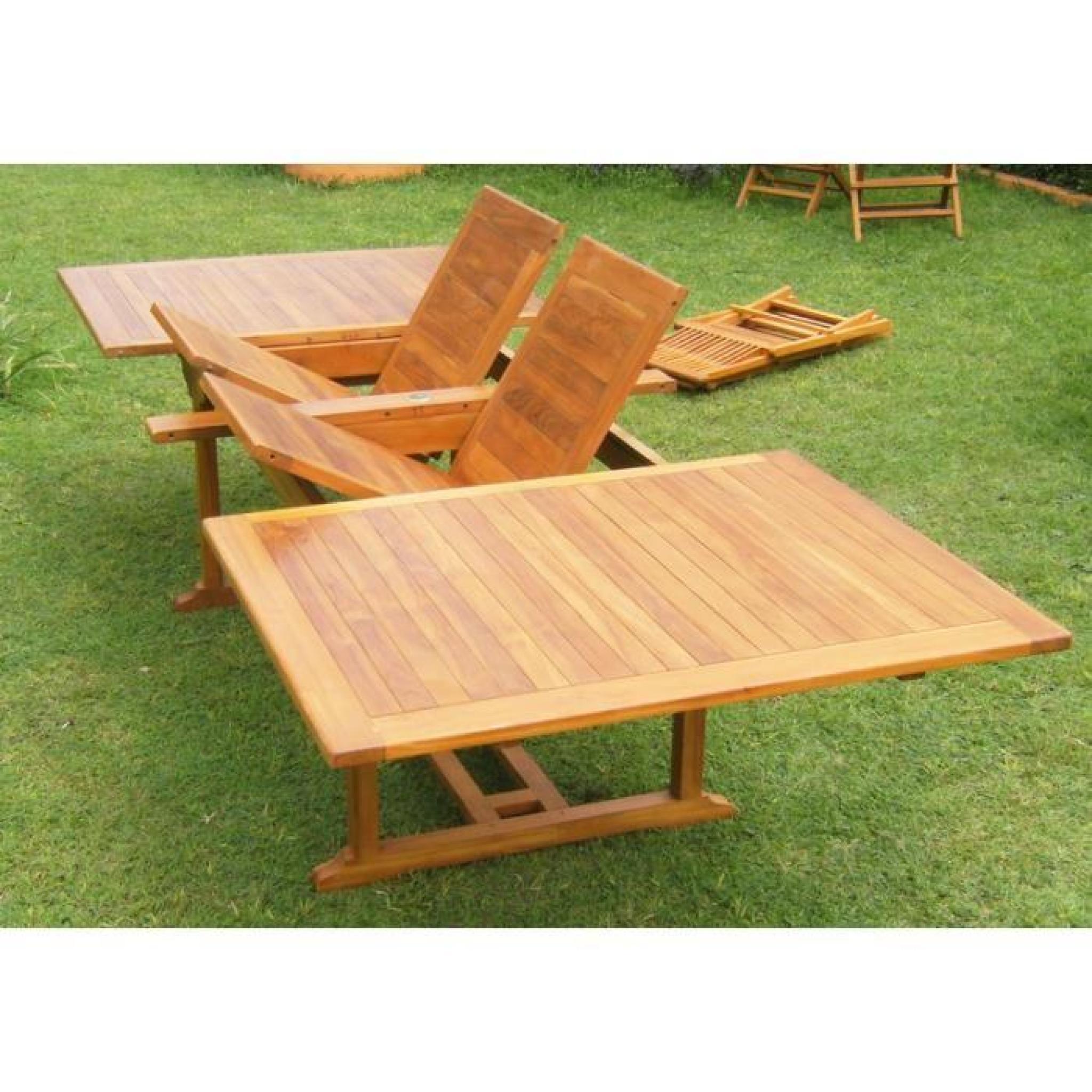 Inaisland salon de jardin en teck huil 12 chaises for Chaise en teck pas cher