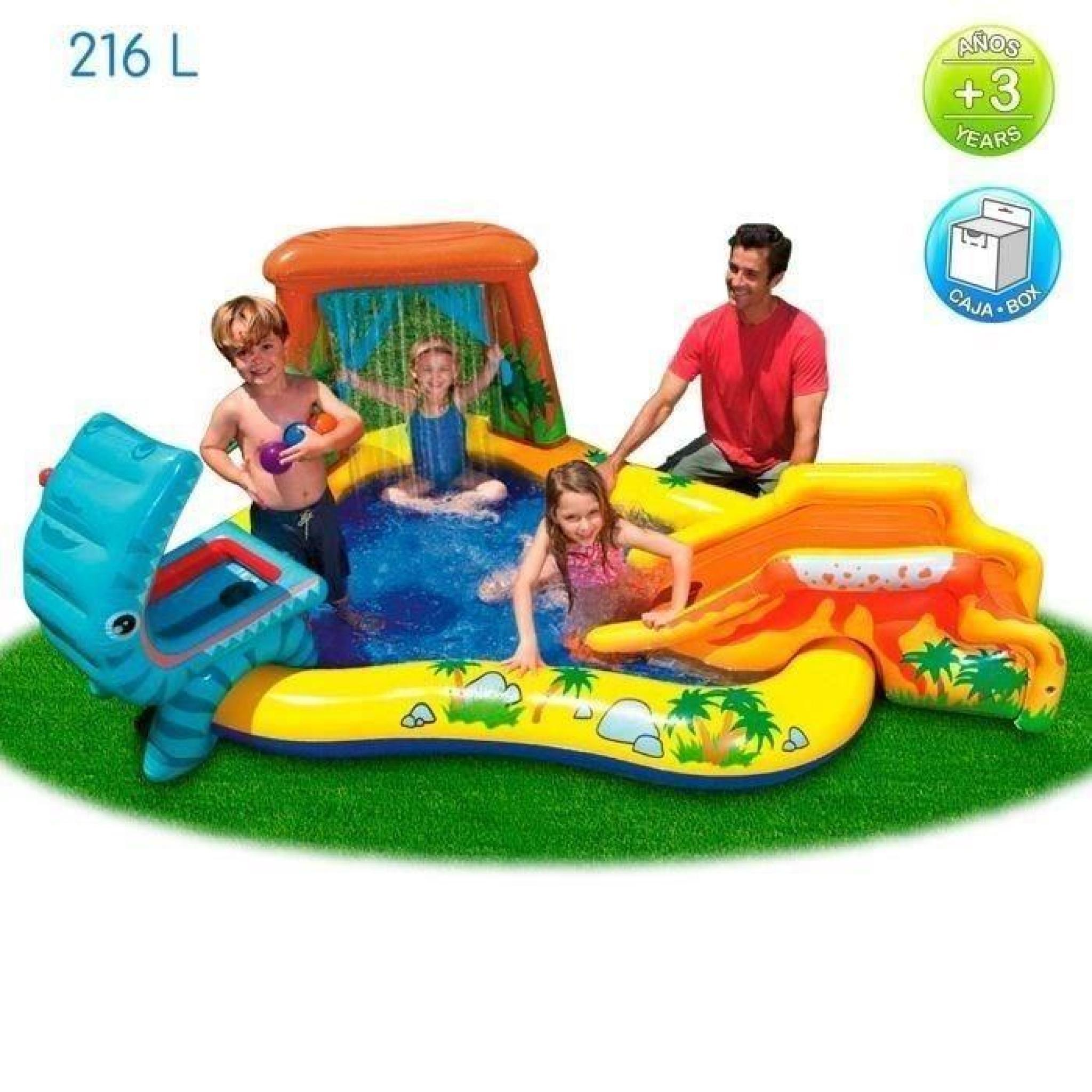 INTEX Piscine Gonflable Enfant / Aire De Jeux Aquatique 297 X 193 X 135 Cm  Rainbow