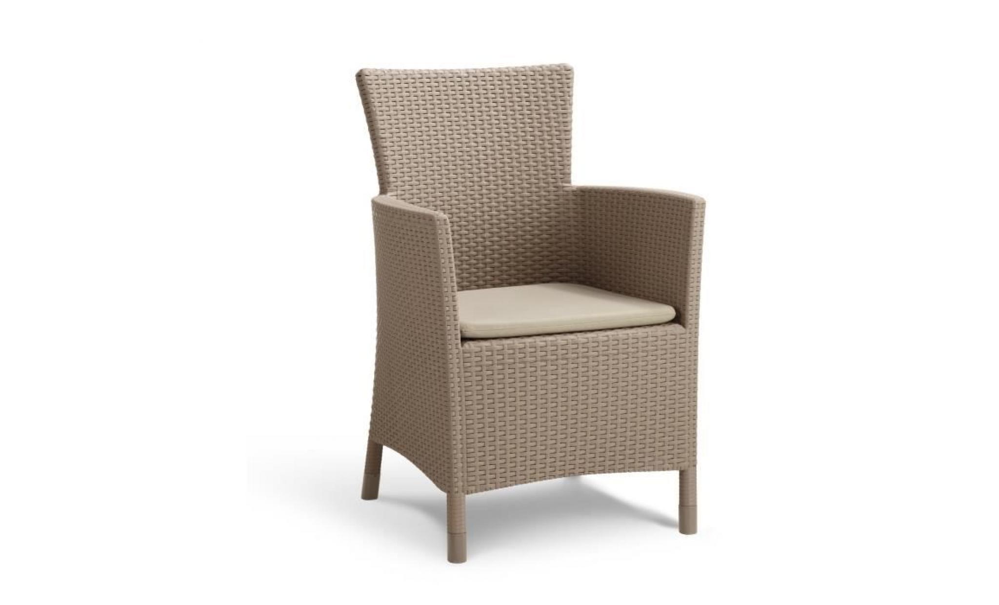 iowa fauteuil de jardin aspect rotin tressé cappucino