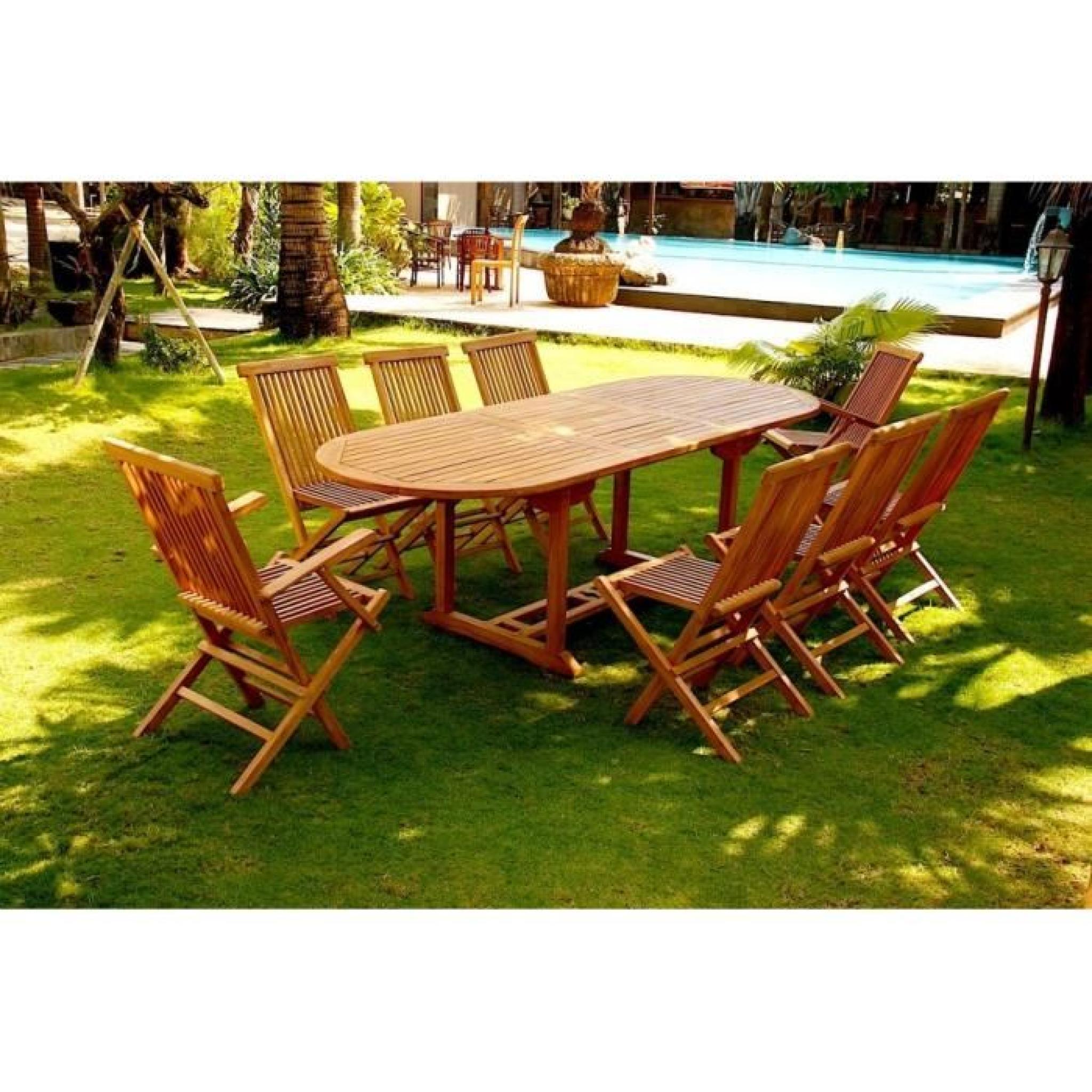 Kajang salon en teck massif 10 pers 6 chaises 2 fauteuils table ovale achat vente salon - Salon de jardin en teck massif ...