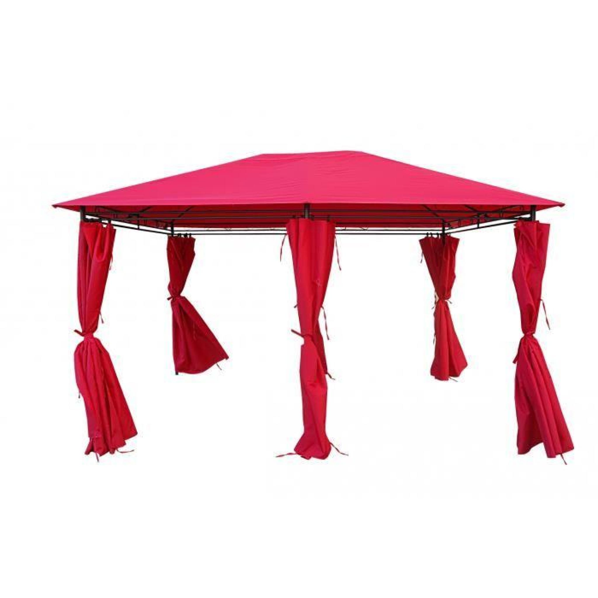 kaligagan tente de jardin pergola 3x4m rouge tonnelle barnum achat vente tonnelle en acier. Black Bedroom Furniture Sets. Home Design Ideas