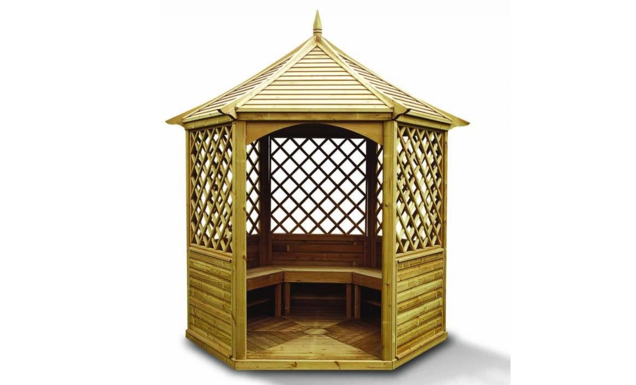 Kiosque Pavillon hexagonal 7,30m² - Toiture en bois