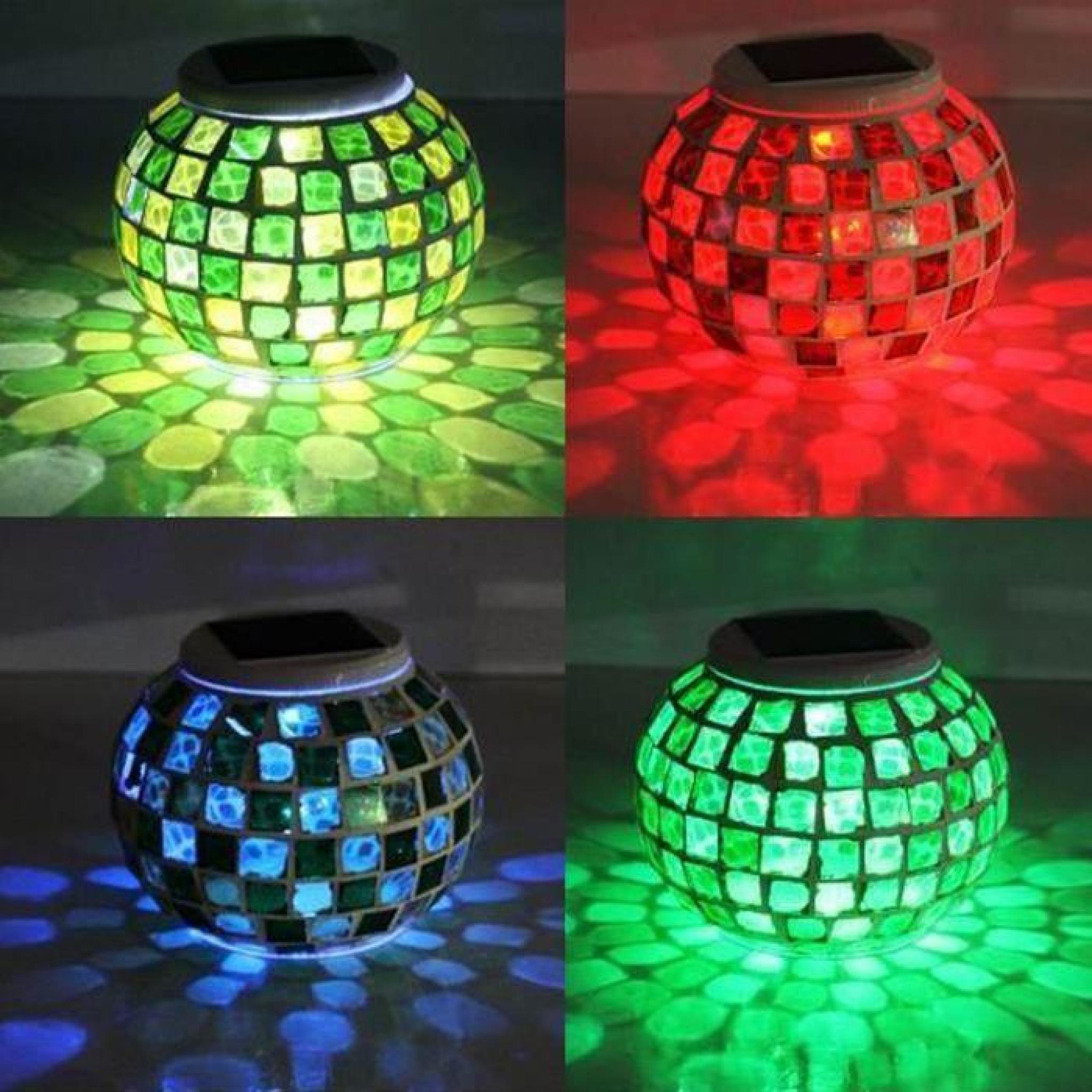Lampe Led de Jardin Solaire Mosaïque Bougeoir de Verre RGB Modes ...
