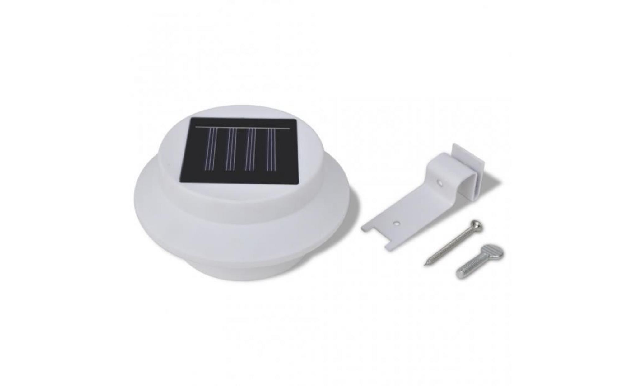 Lampe solaire 3 led pour cl ture goutti re jardin noir for Lampe solaire pour portail