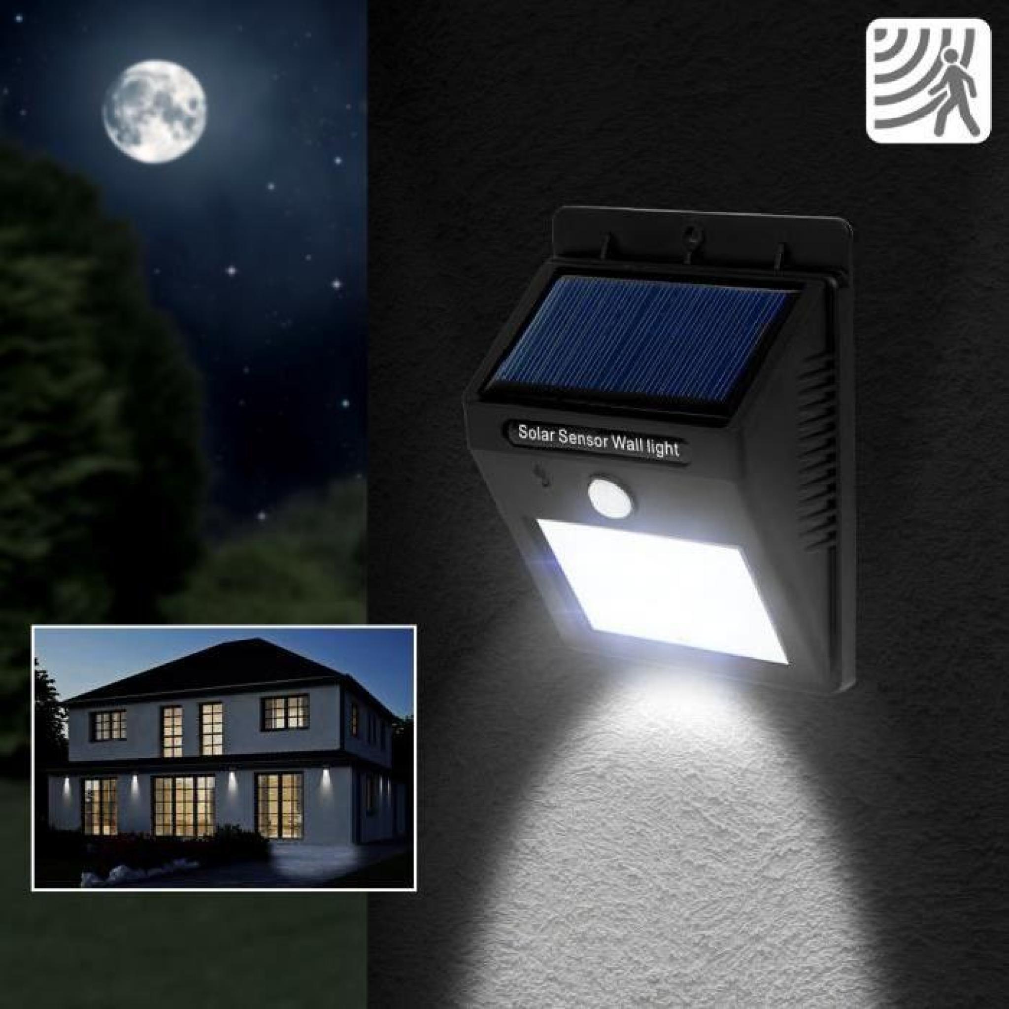 Lampe solaire 6 LED Jardin, Lampe murale, Sans Fil avec capteur ...