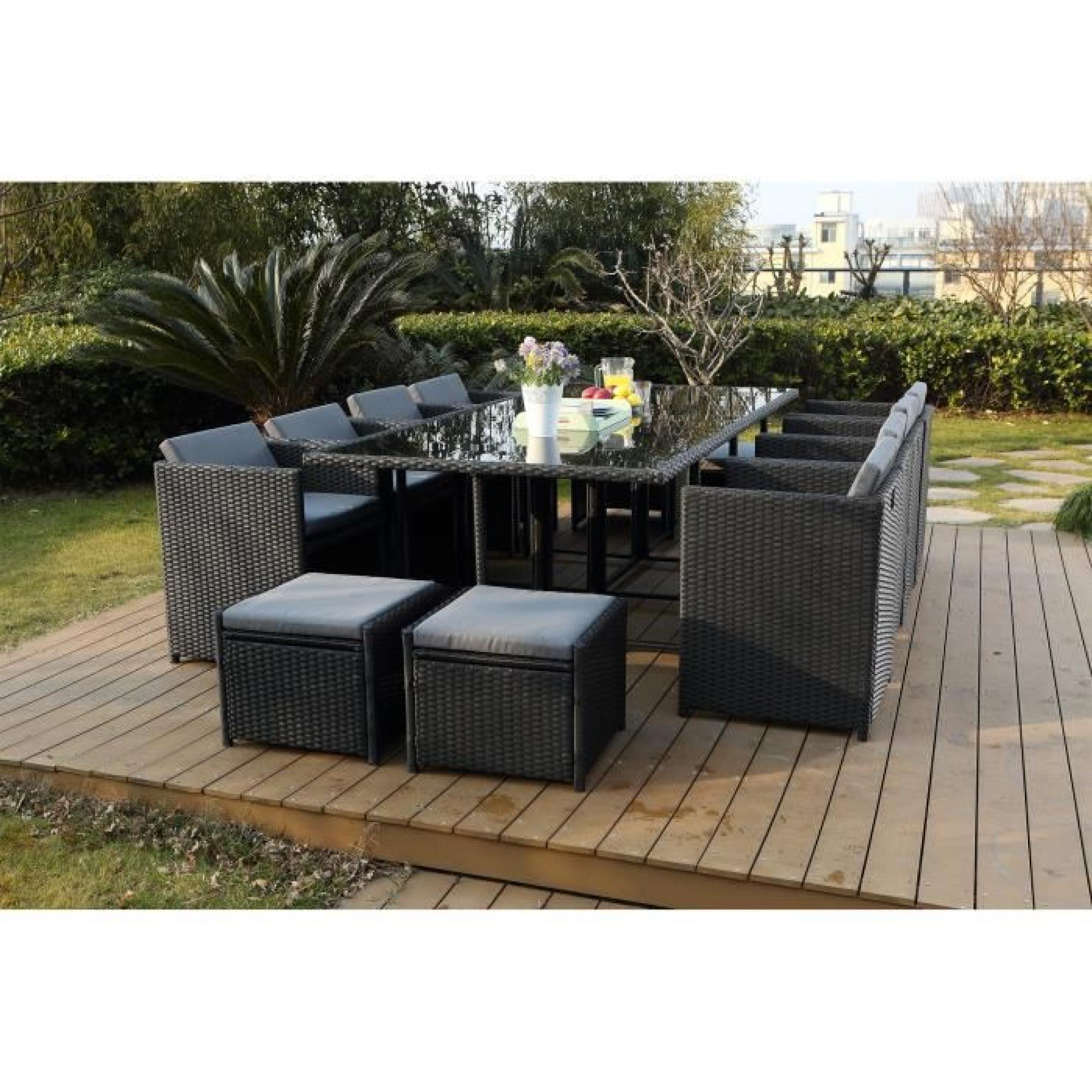 vito salon jardin noir encastrable 6 personnes achat vente salon de jardin en resine tressee. Black Bedroom Furniture Sets. Home Design Ideas