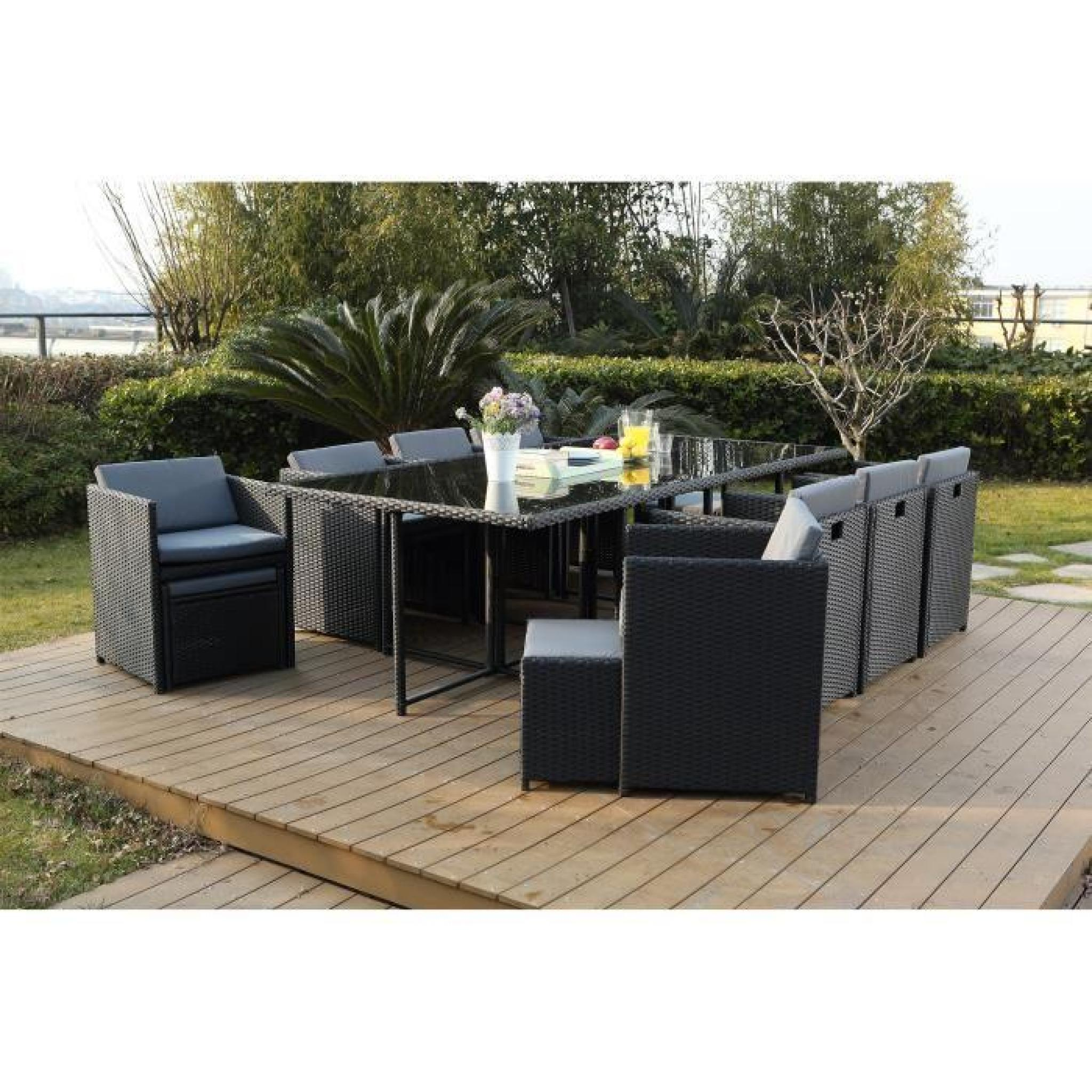 vito salon jardin noir encastrable 6 personnes achat. Black Bedroom Furniture Sets. Home Design Ideas