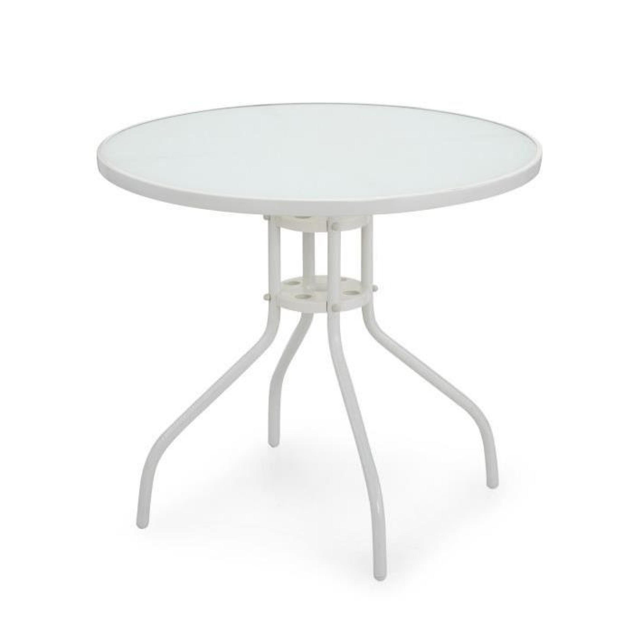 Livia Table de jardin blanche en acier et verre - Blanc