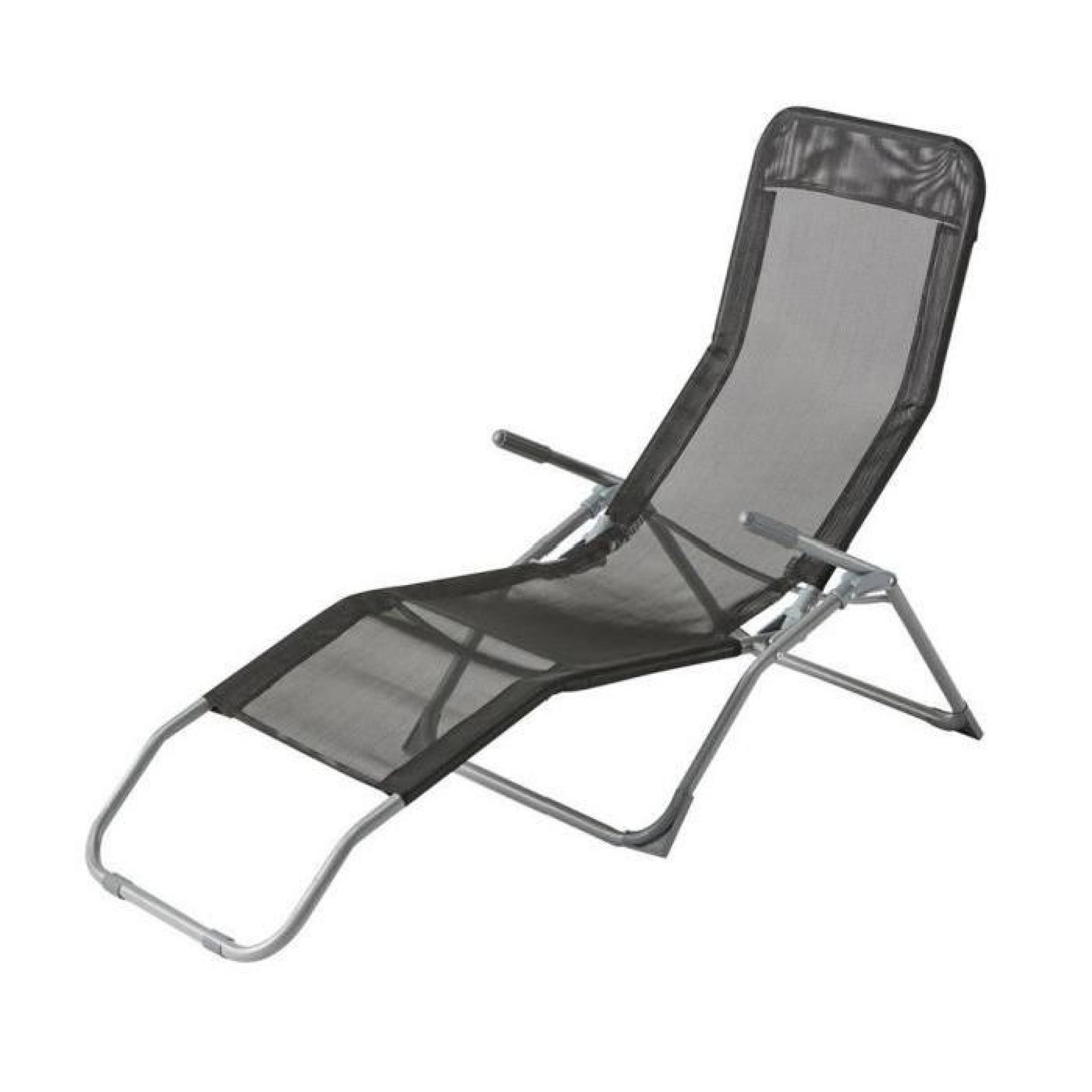 Chaise longue siesta hesperide noir achat vente transat - Chaise longue de jardin pas cher ...