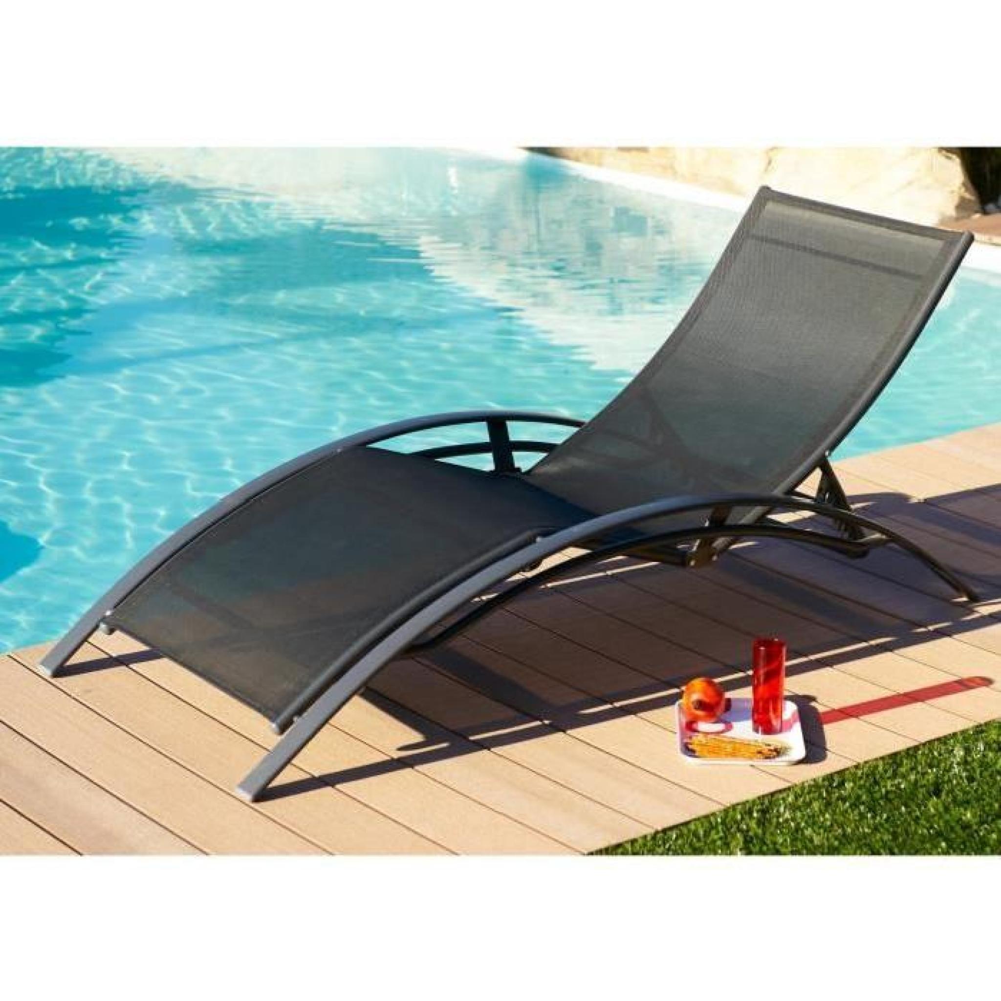 lot de 2 chaises longues aluminium textil ne noir achat vente transat de jardin pas cher. Black Bedroom Furniture Sets. Home Design Ideas