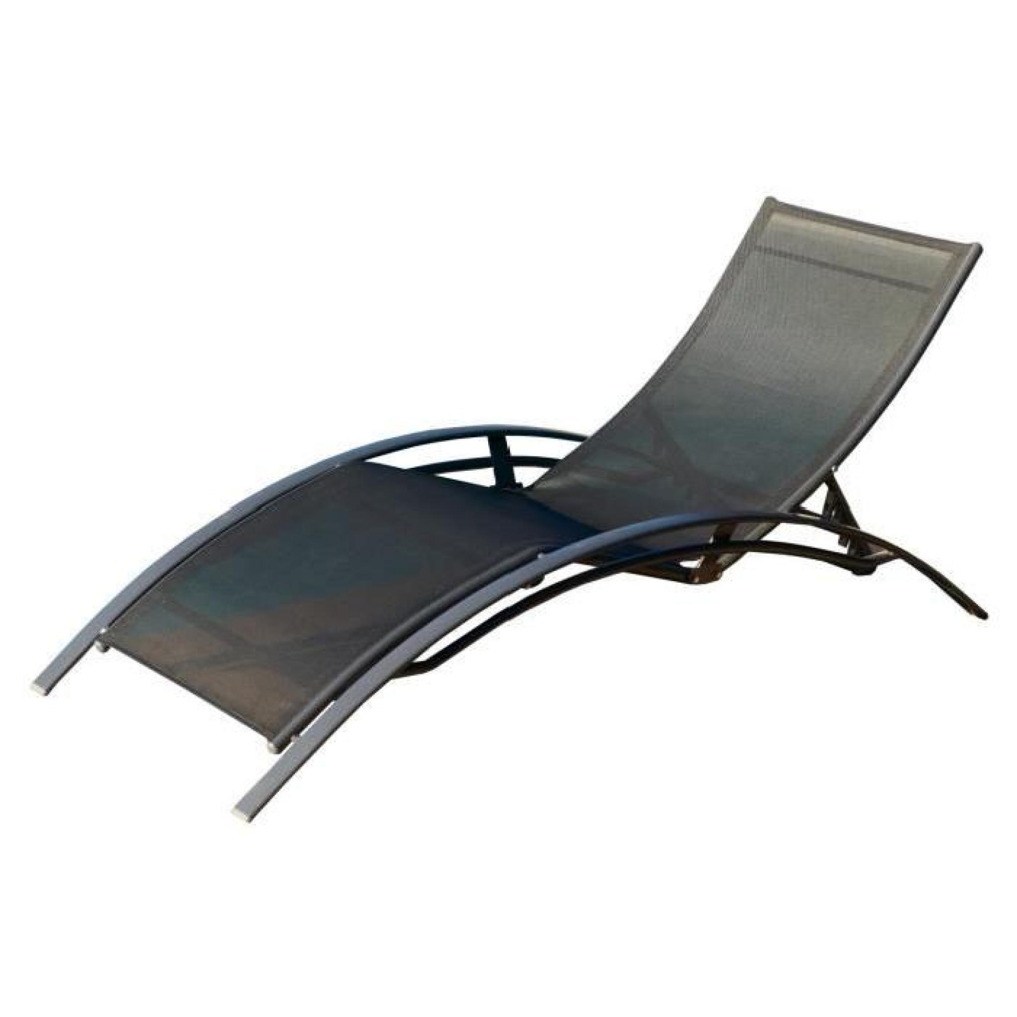 Lot de 2 chaises longues aluminium textil ne noir achat - Chaise longue de jardin pas cher ...