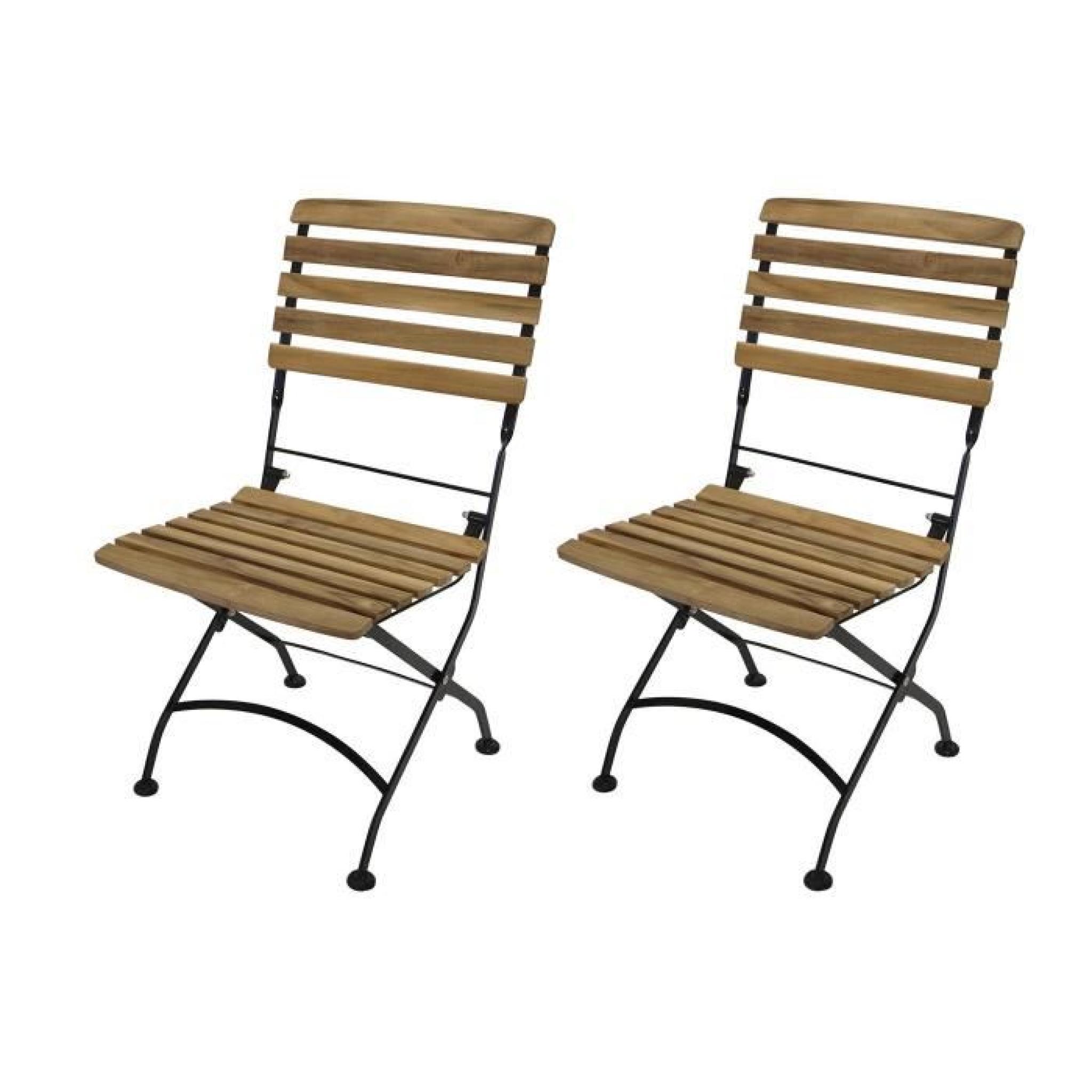 Lot de 2 chaises pliante fauteuil accoudoirs salon de jardin acier ...