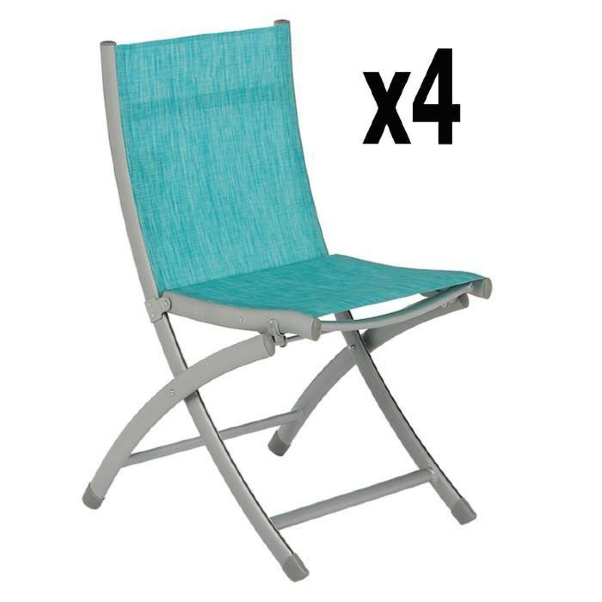 Lot de 4 chaises pliantes leon en aluminium coloris lagon for Lot chaise de jardin
