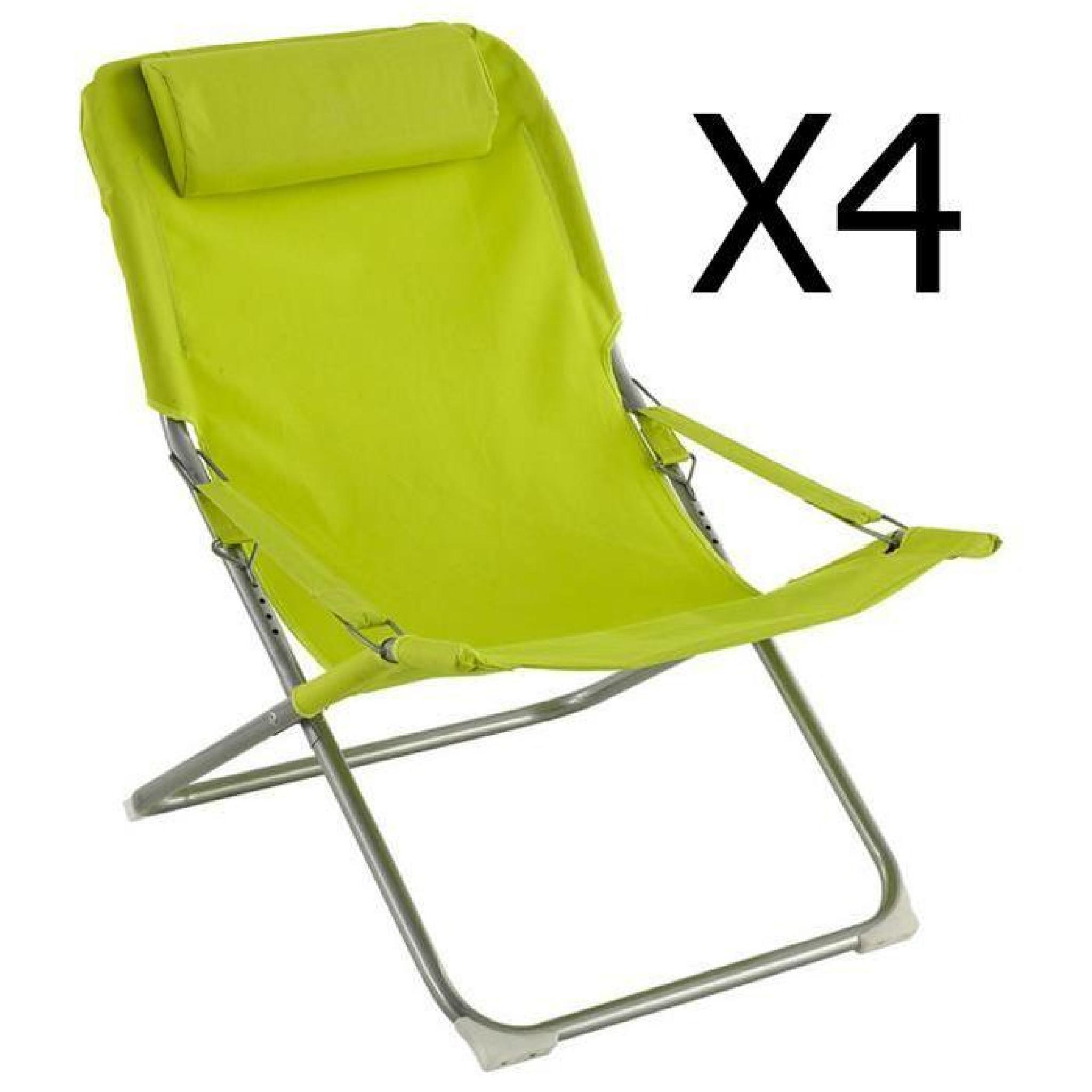Lot de 4 fauteuils relax coloris granny dim x x cm achat - Relax de jardin pas cher ...