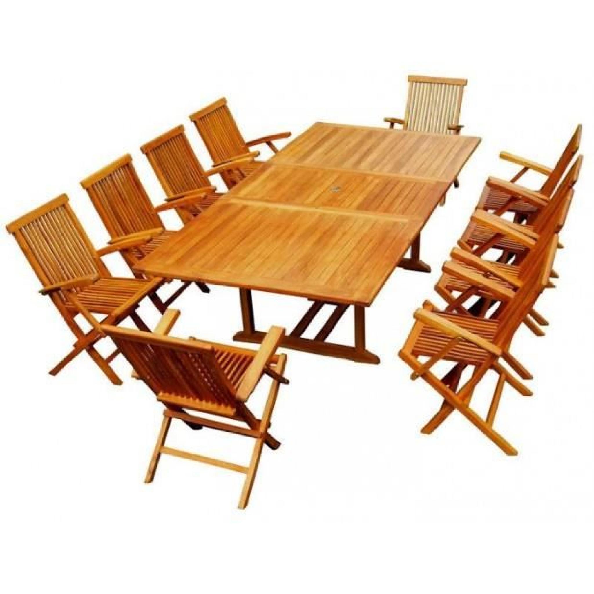 Magnifique salon de jardin teck \'huilé\' 10/12 pers -100% fauteuils+table  rect.