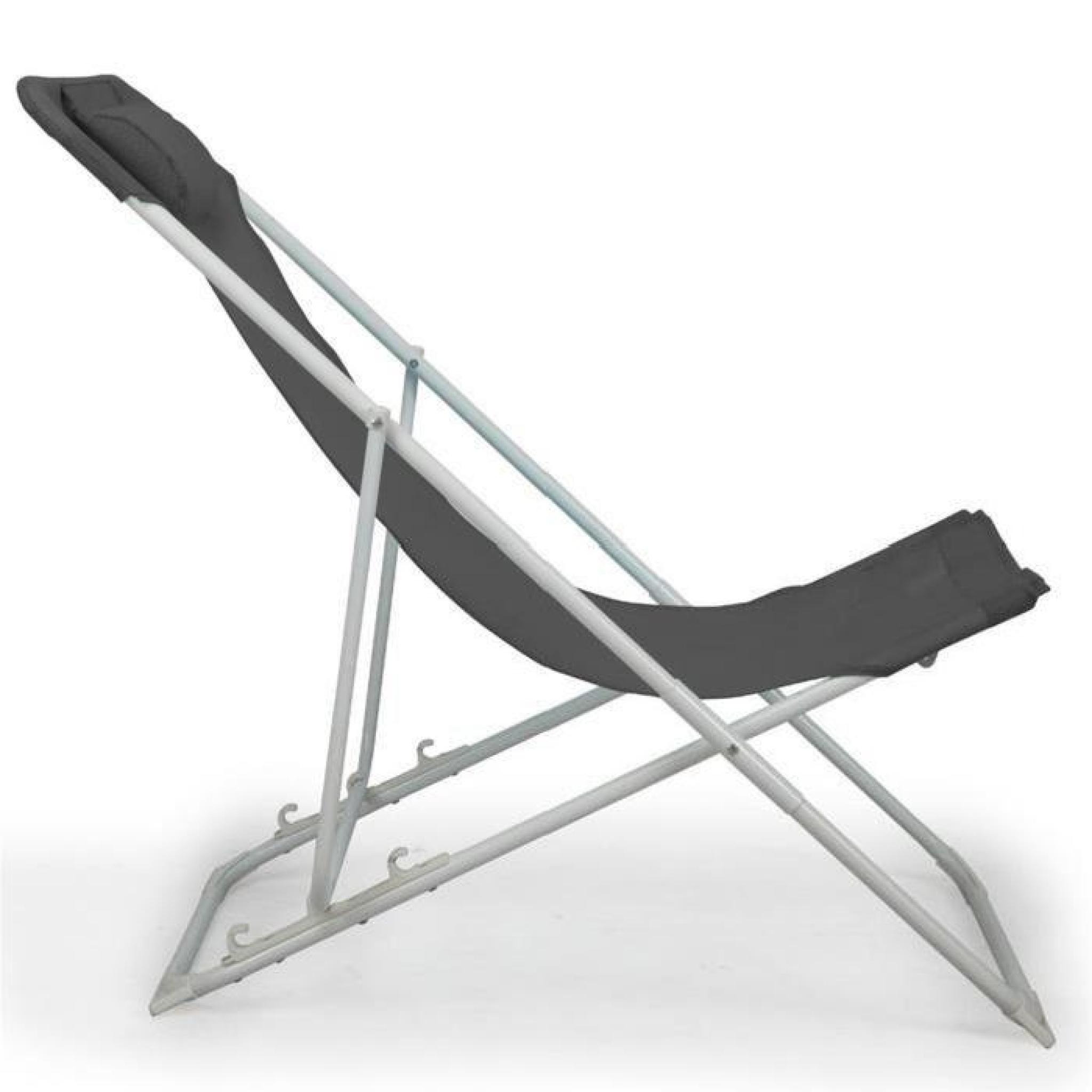 marcuso chilienne chaise longue de jardin noire en textilne pas cher - Chaise Longue Jardin Pas Cher
