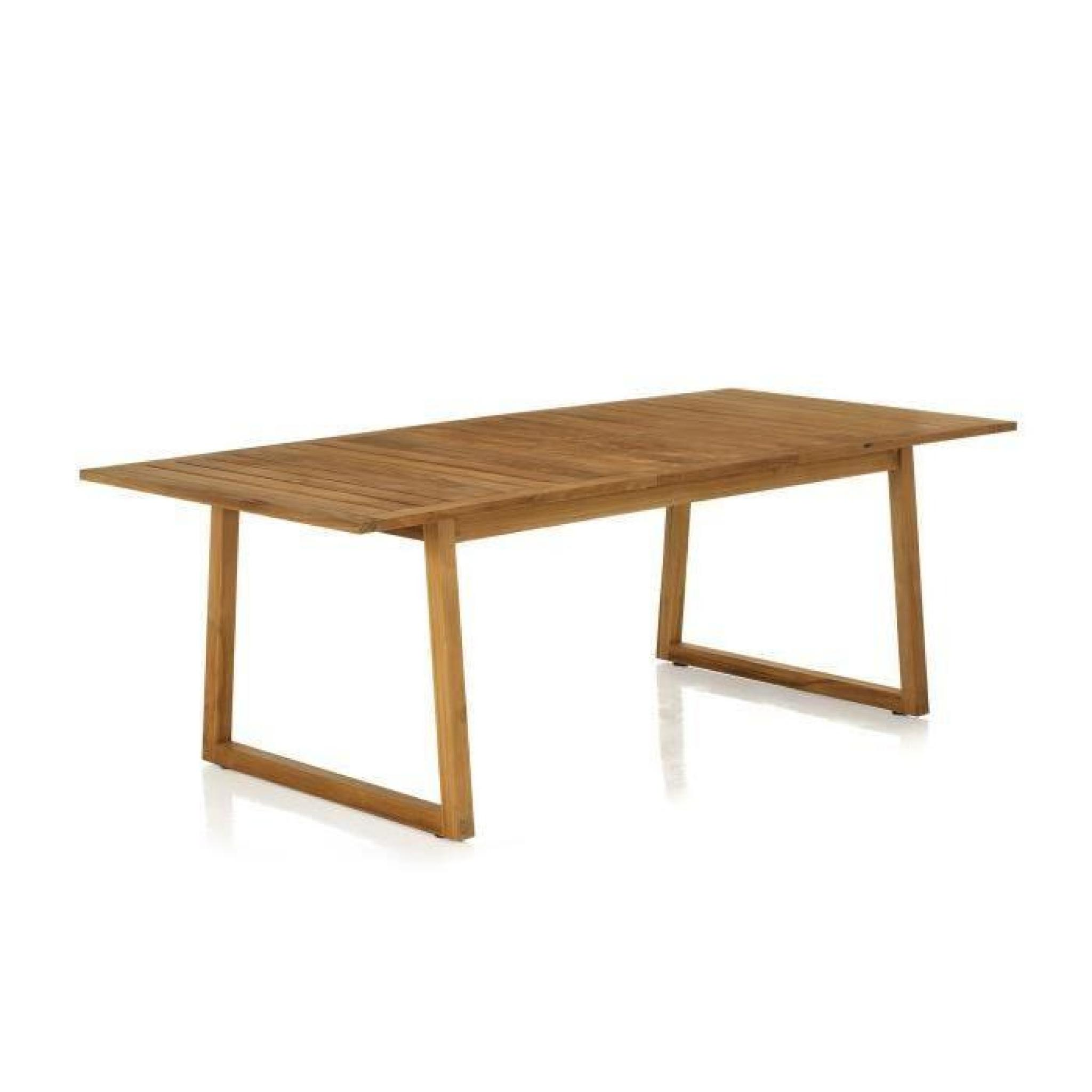 Mia table de jardin rectangulaire en teck allonge papillon naturel achat vente table de - Table en teck jardin ...