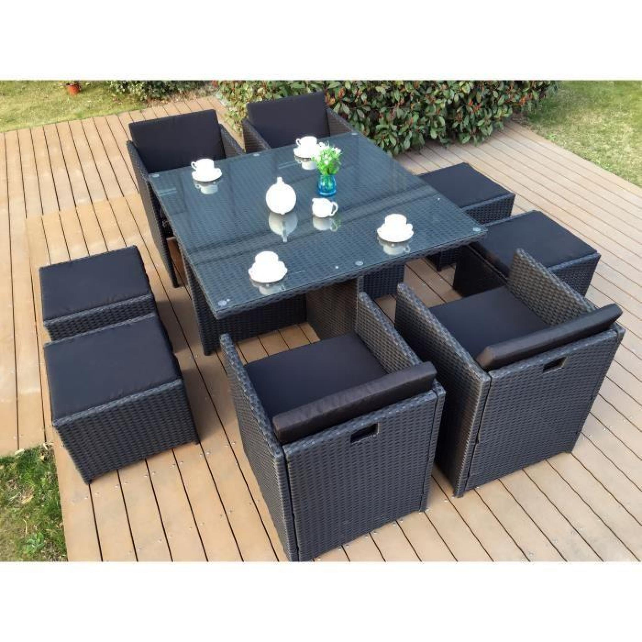 Miami 8 Salon De Jardin Encastrable 8 Places En R Sine Tress E  # Table De Jardin Resine Noir