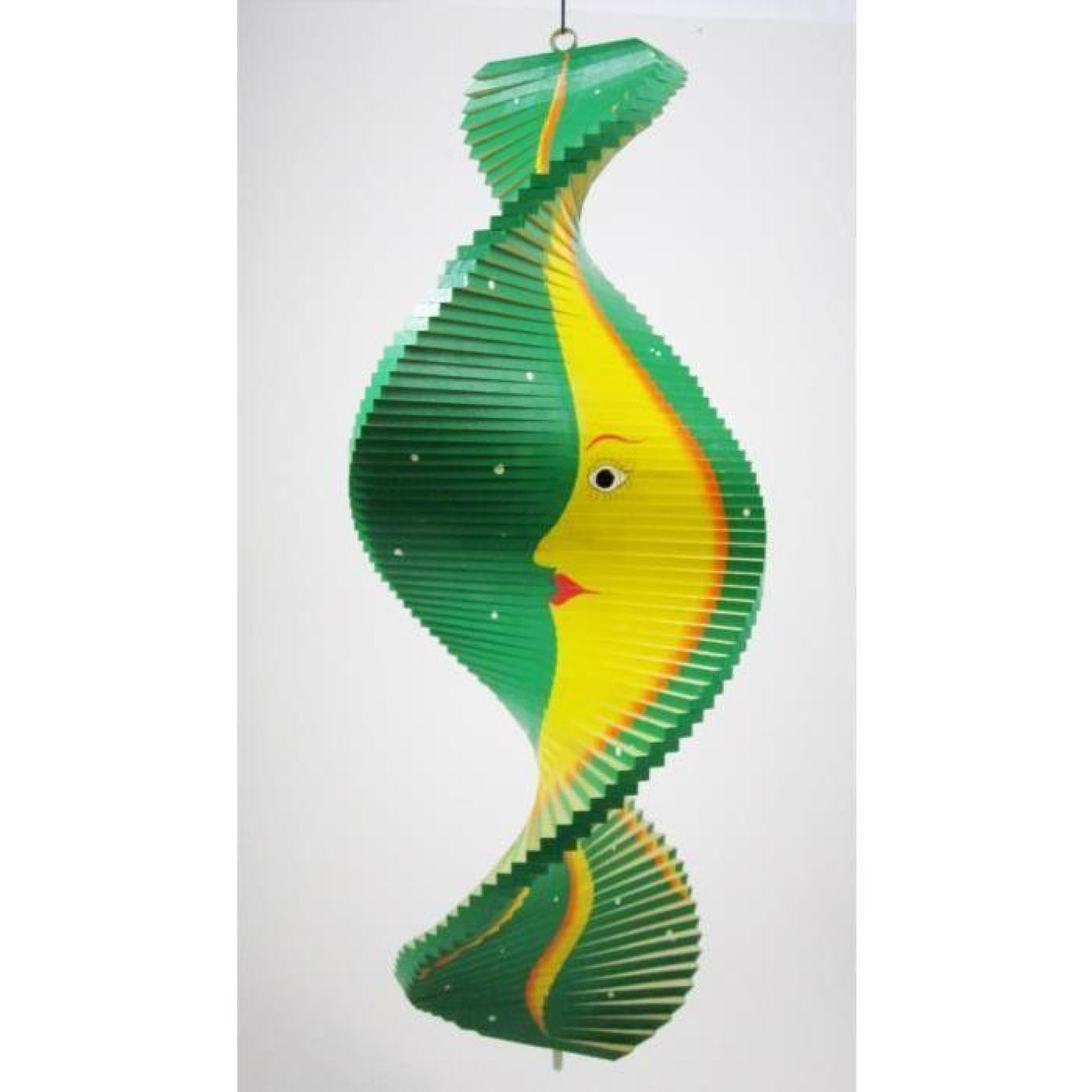 Mobile spirale vent en bois soleil et lune vert 40x16 for Decoration jardin spirale