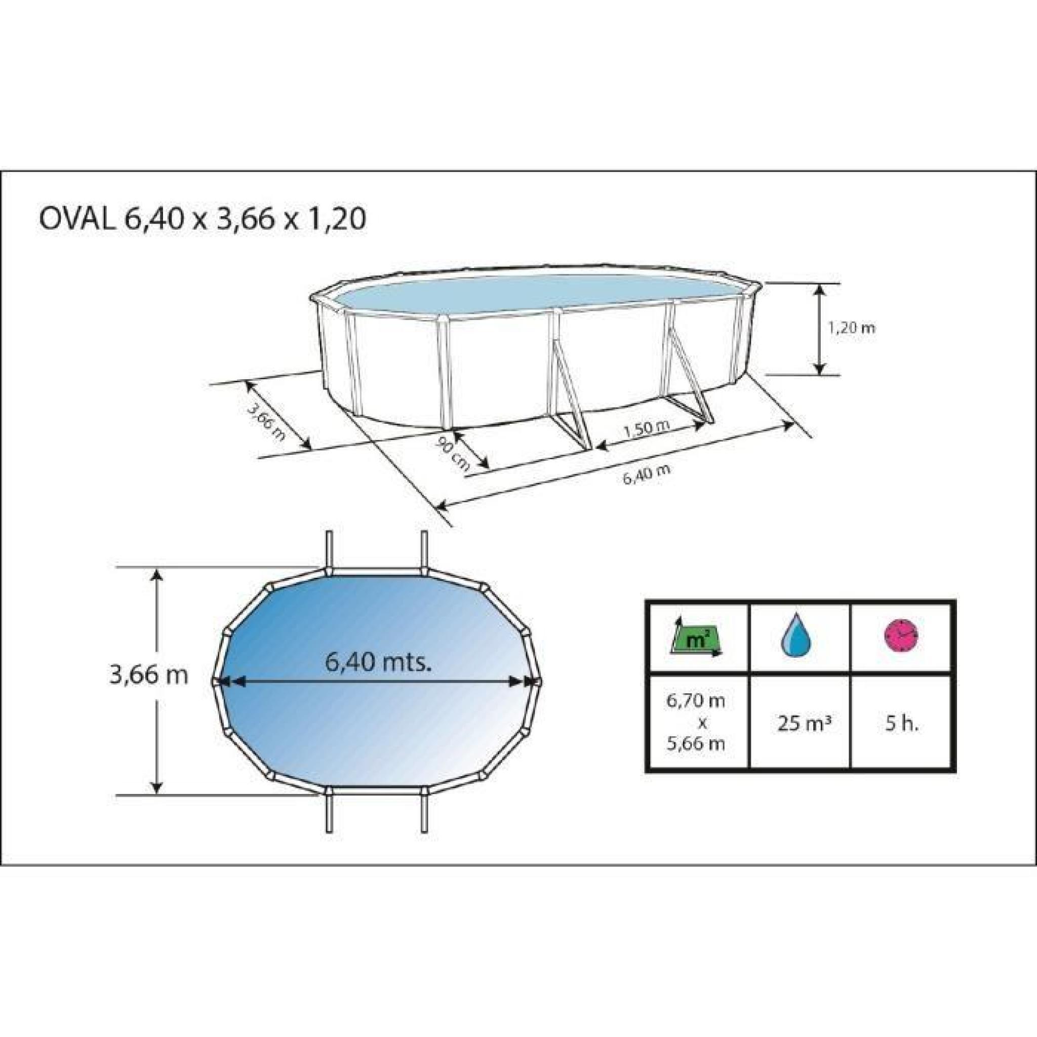 Mur piscine en acier ovale 640x366x120 achat vente - Piscine hors sol acier pas cher ...