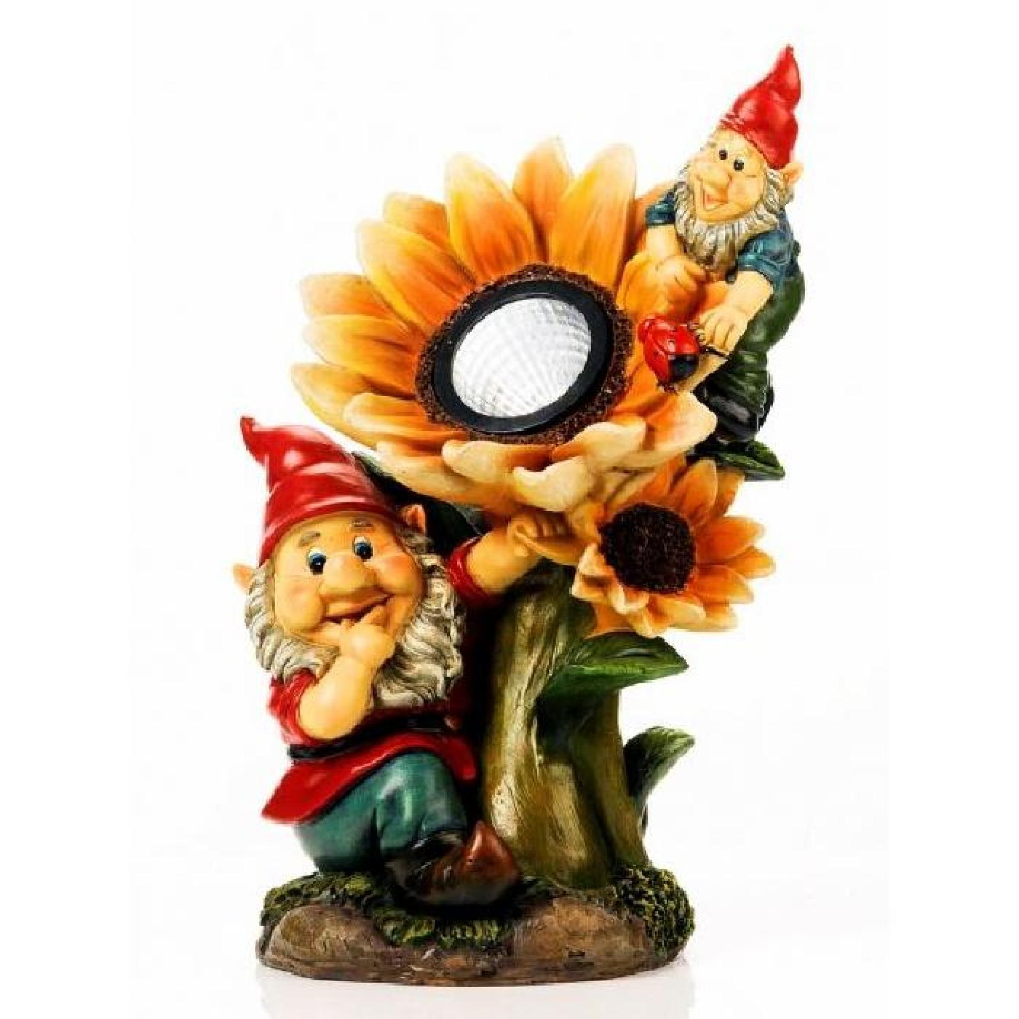 Nain de jardin avec lampe solaire tournesol - M…