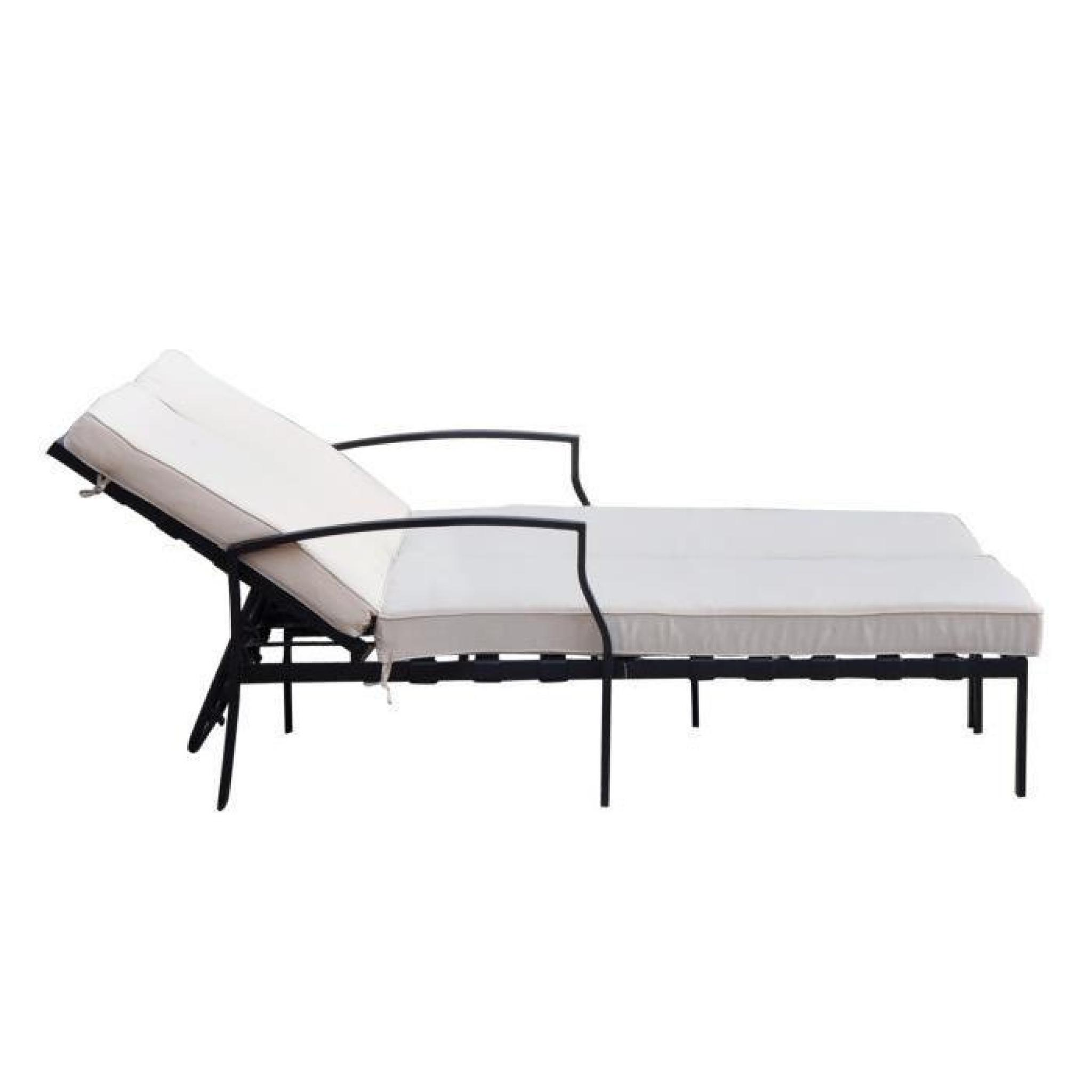 outsunny bain de soleil chaise longue places lit de jardin inclinaison rglable coussins lavables. Black Bedroom Furniture Sets. Home Design Ideas