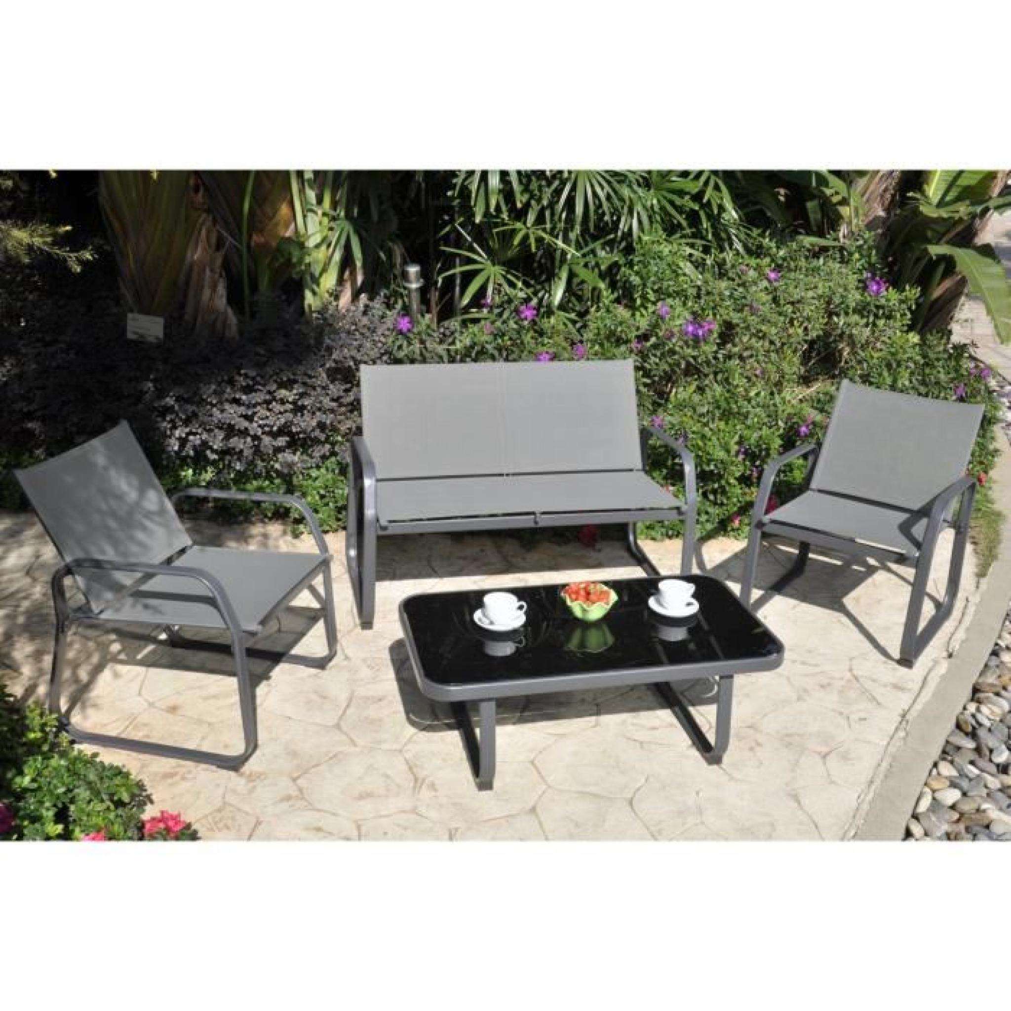 PALMERI Salon de jardin 1 canapé, 2 fauteuils et table basse