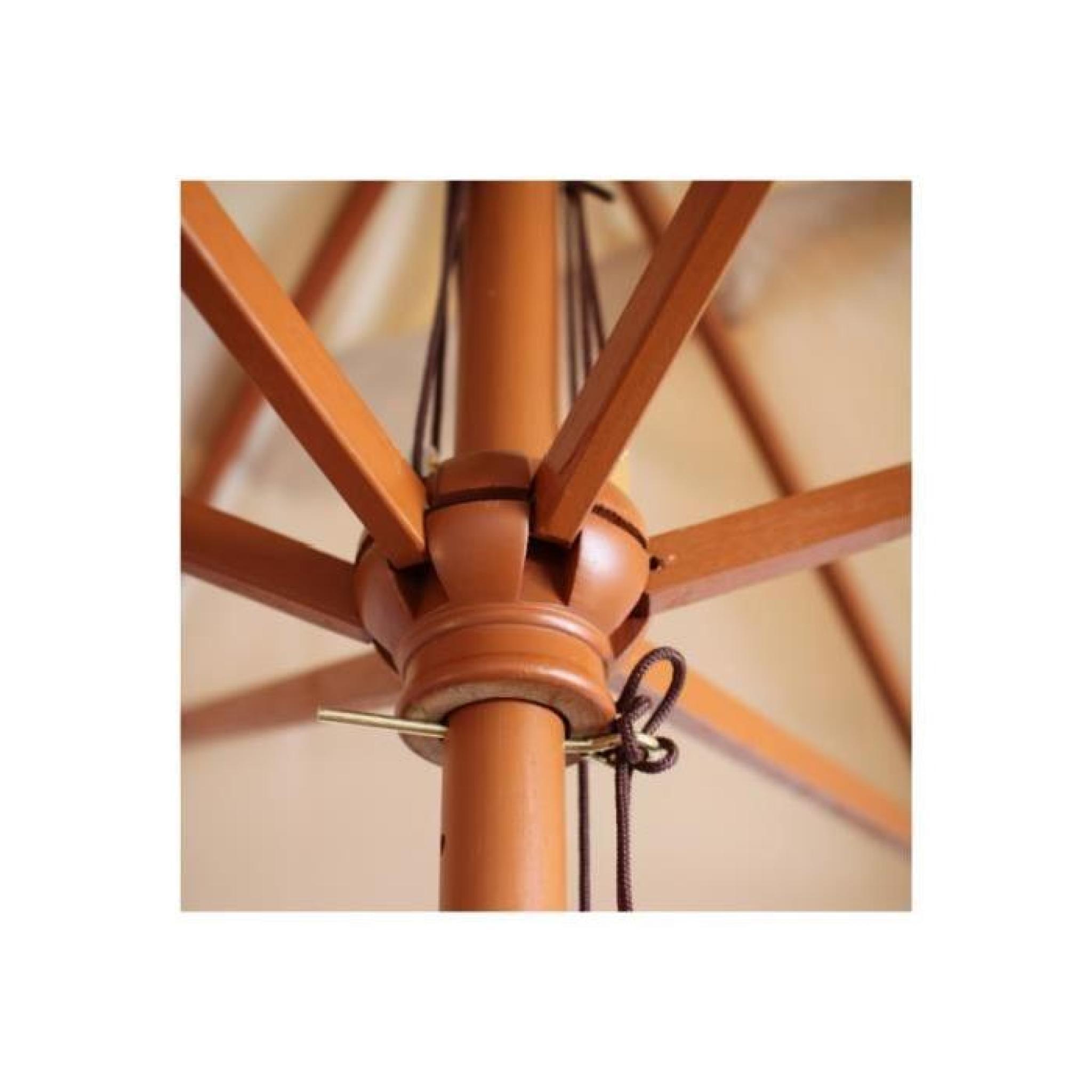 parapluie bois parasol 2x3m rectangulaire cr me. Black Bedroom Furniture Sets. Home Design Ideas