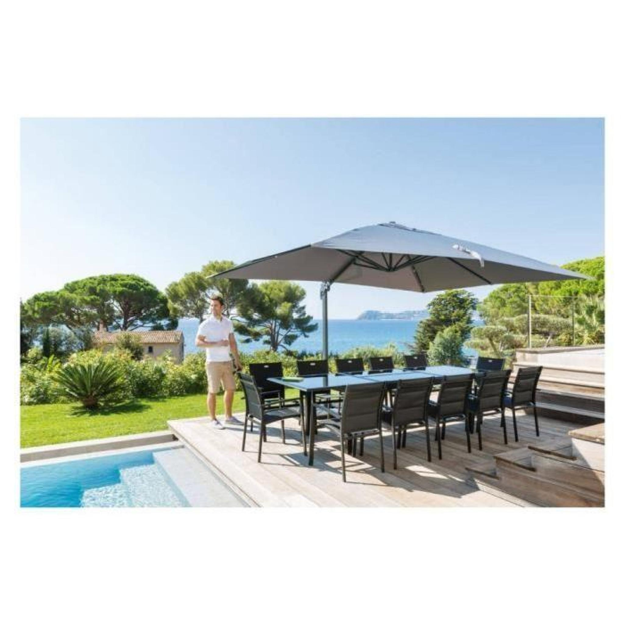parasol decentre rectangulaire fresno gris achat vente parasol inclinable pas cher. Black Bedroom Furniture Sets. Home Design Ideas