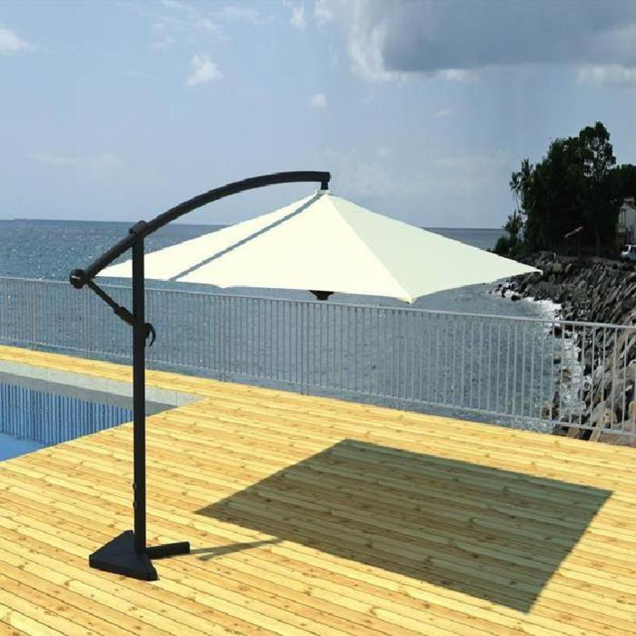 parasol d port 3x3m cru ecru achat vente parasol. Black Bedroom Furniture Sets. Home Design Ideas