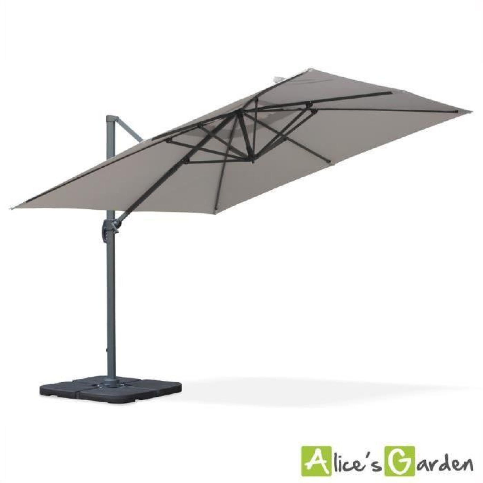 parasol d port carr 3x3m haut de gamme excentr inclinable rotatif 360 gris clair achat. Black Bedroom Furniture Sets. Home Design Ideas