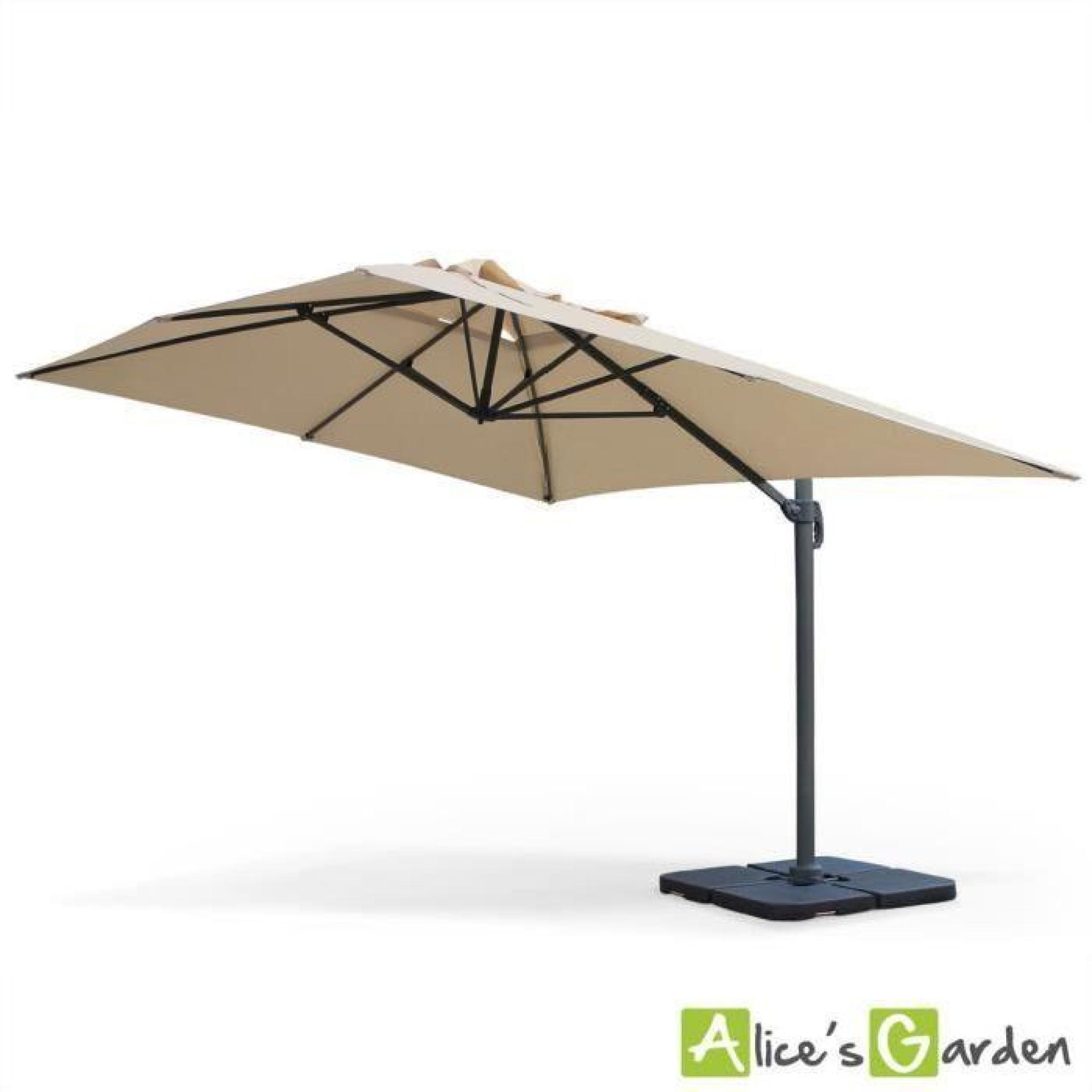 parasol d port rectangulaire st jean de luz 3x4m haut de gamme beige excentr inclinable. Black Bedroom Furniture Sets. Home Design Ideas