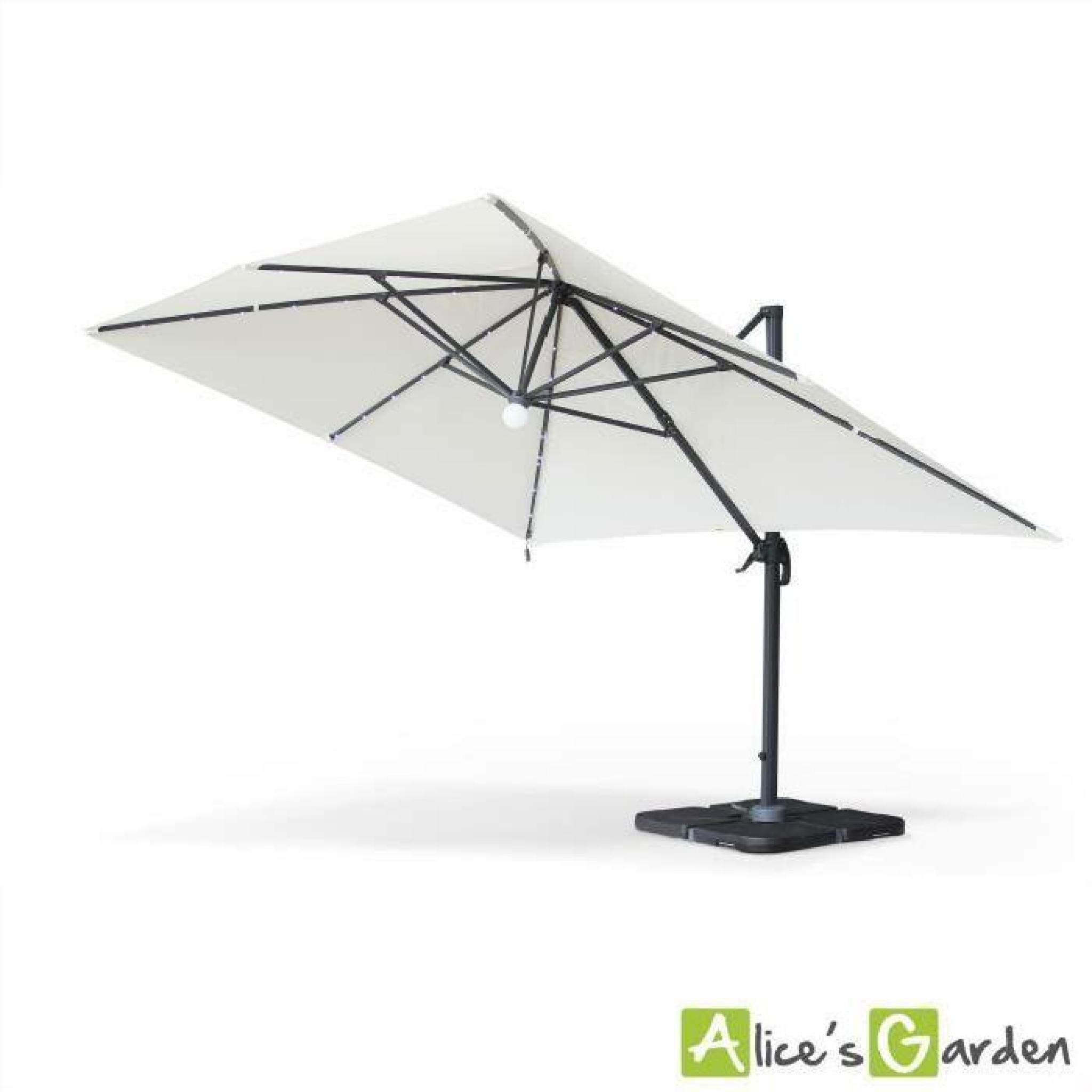 luce parasol d port 3x4m avec led cru achat vente parasol deporte pas cher. Black Bedroom Furniture Sets. Home Design Ideas