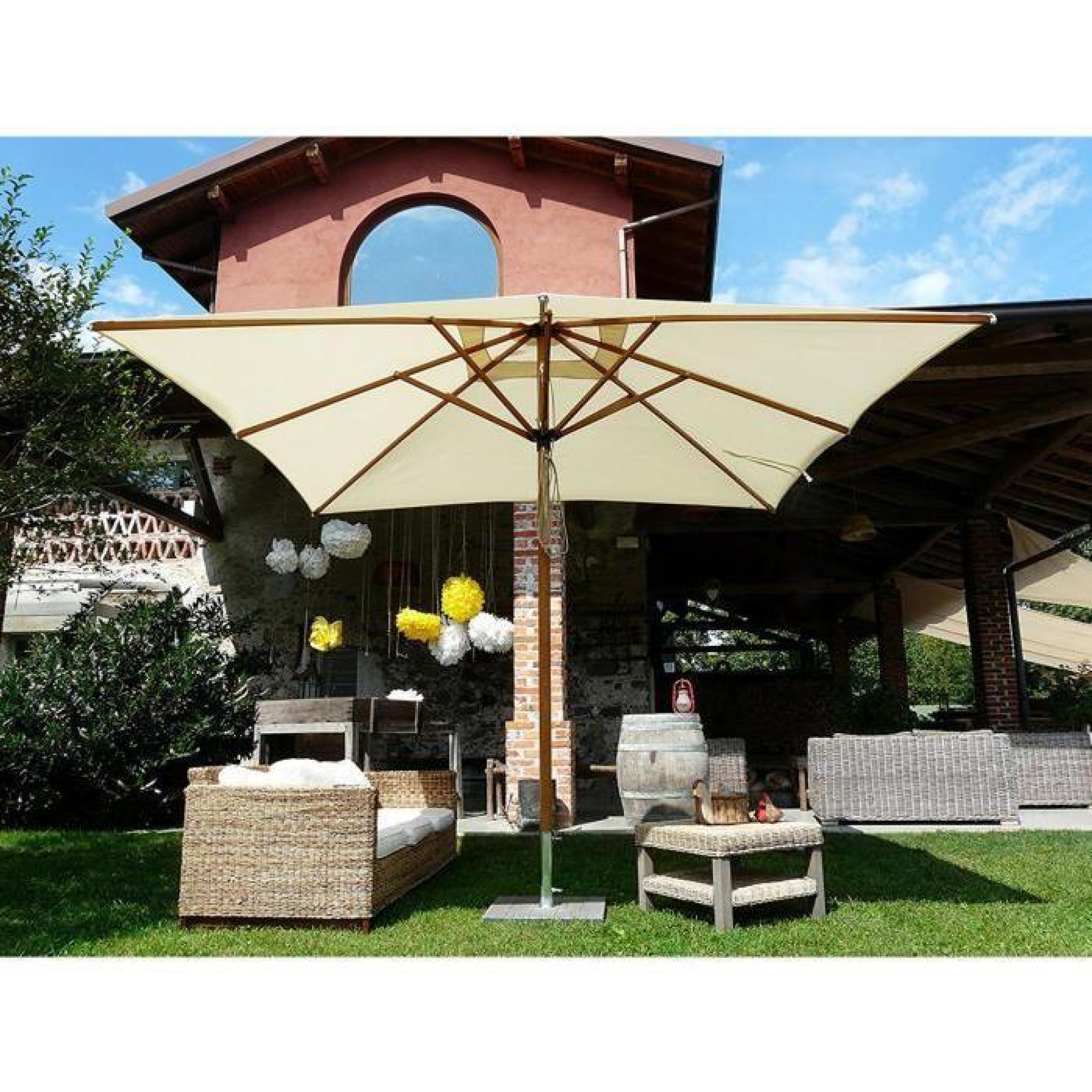 parasol rectangulaire centr coloris cru dim h 280cm. Black Bedroom Furniture Sets. Home Design Ideas