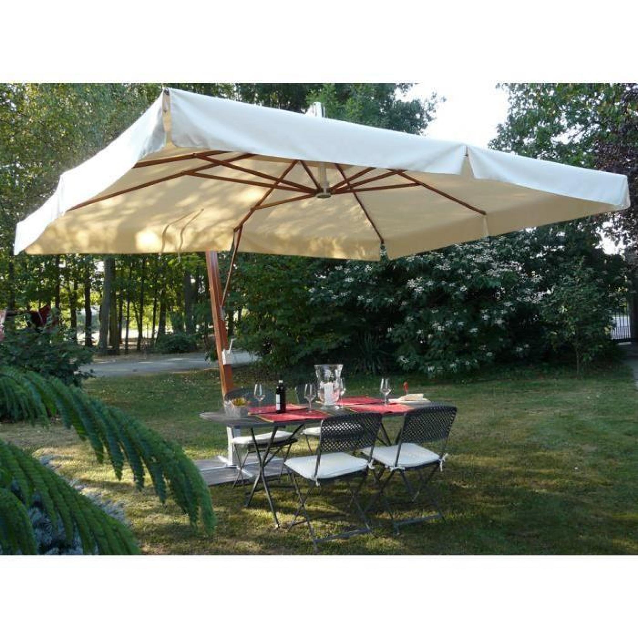 parasol rectangulaire d port coloris ecru dim 250 x d. Black Bedroom Furniture Sets. Home Design Ideas