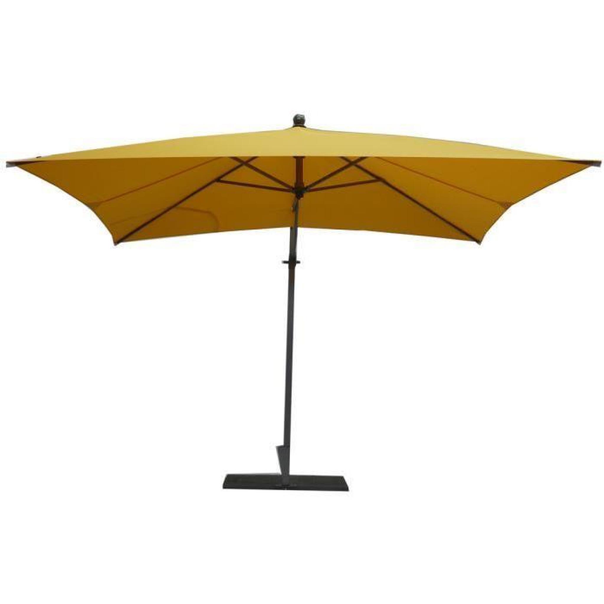 Parasol rectangulaire déporté coloris jaune   Dim : H 250 x D 300