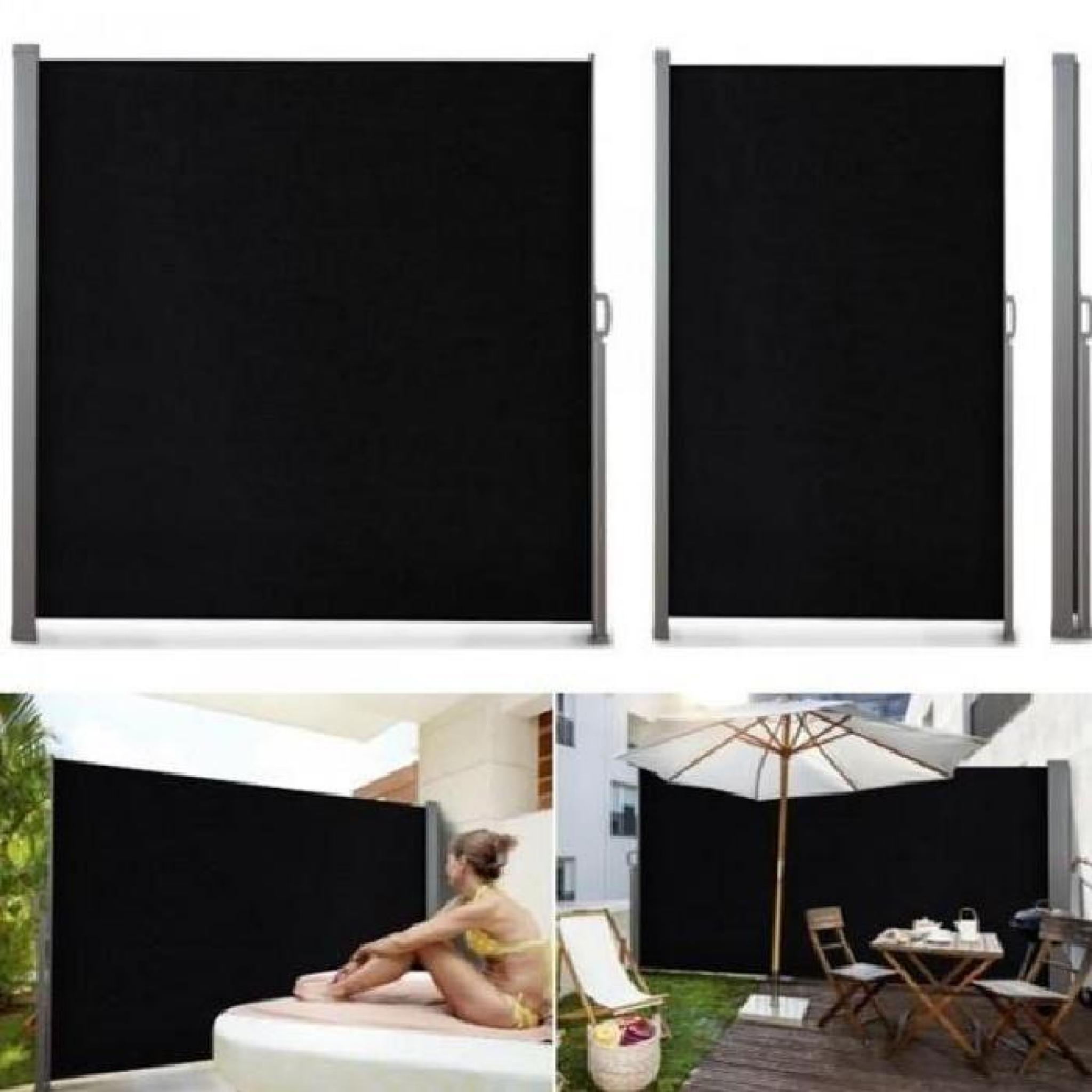 paravent ext rieur r tractable 300x180cm noir store. Black Bedroom Furniture Sets. Home Design Ideas