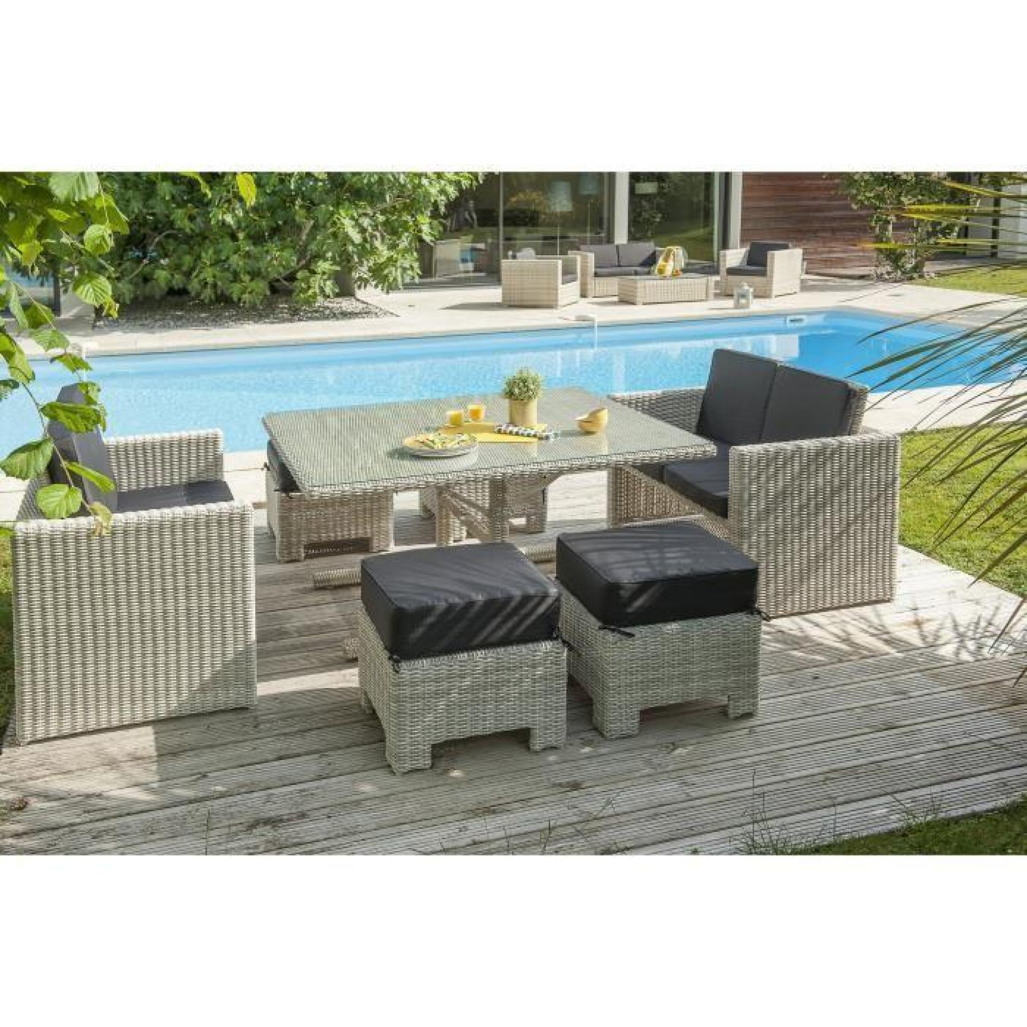 paris garden ensemble repas de jardin encastrable oceane 1 table 2 banquettes et 4 poufs en. Black Bedroom Furniture Sets. Home Design Ideas