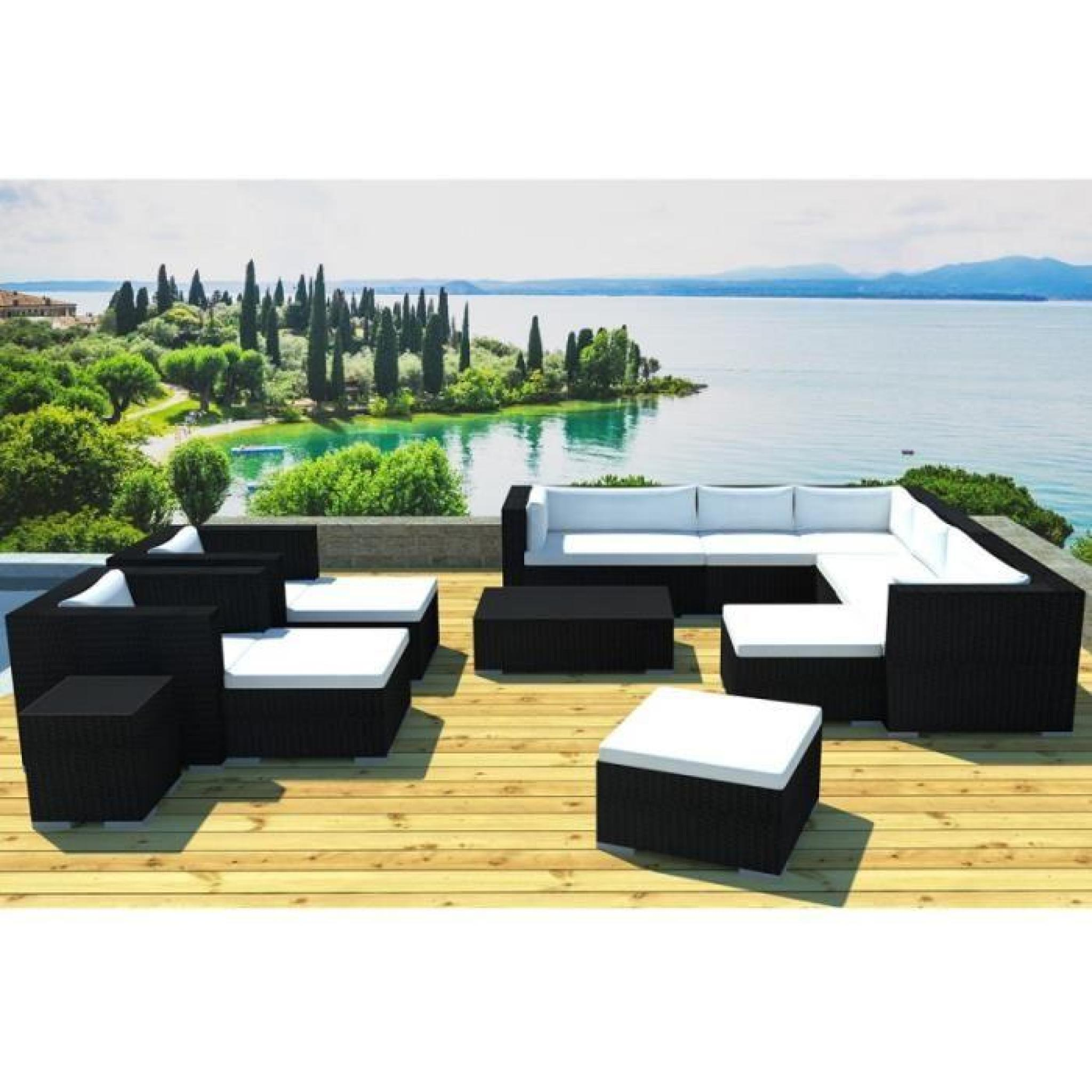 paris prix salon de jardin en r sine lisbonne 12 places noir gris achat vente salon de. Black Bedroom Furniture Sets. Home Design Ideas
