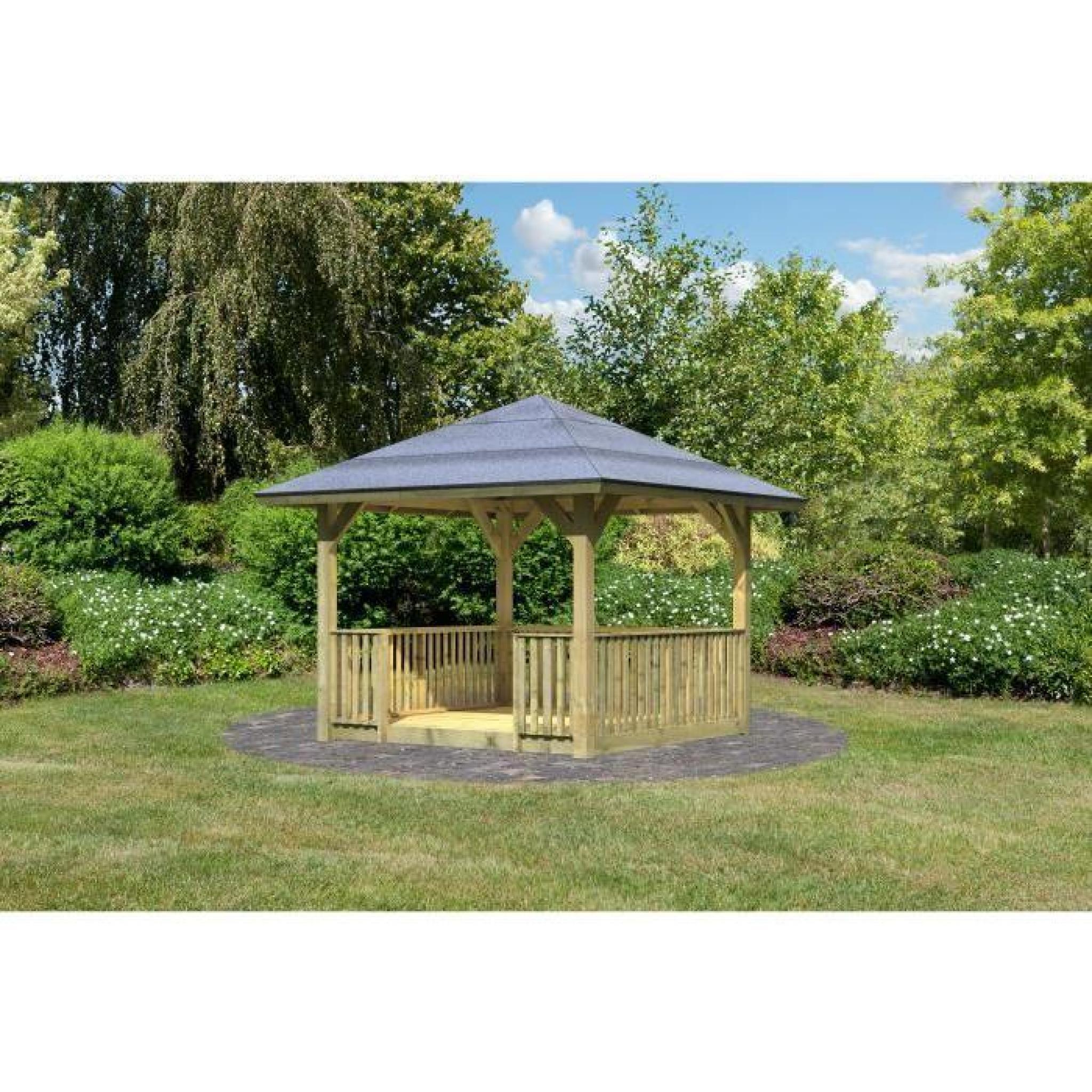 Pavillon de jardin bois trait 265x265 cm achat vente kiosque de j - Kiosque jardin pas cher ...