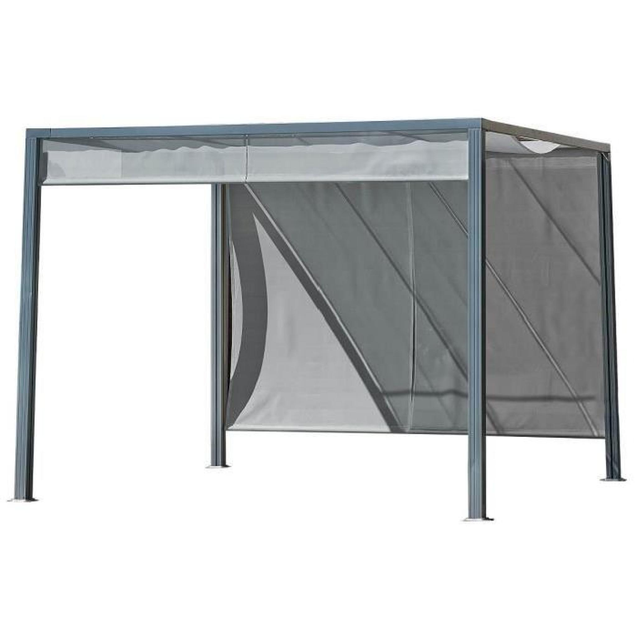 pergola brise soleil en alu 3x3m avec rideaux gris. Black Bedroom Furniture Sets. Home Design Ideas