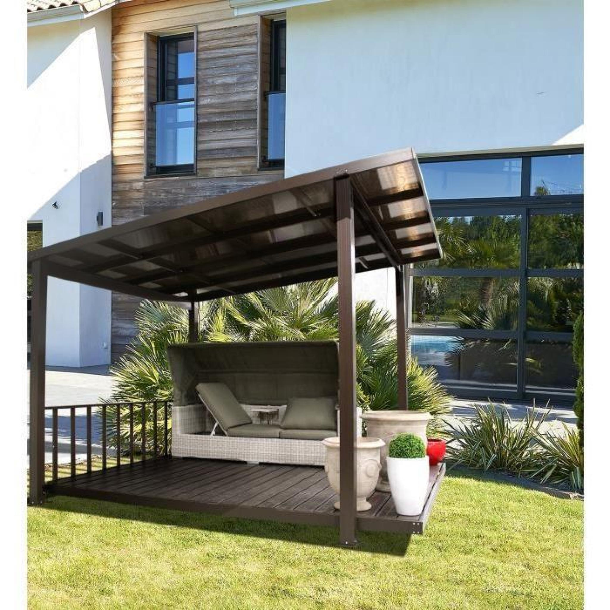 terrasse couverte en alu et polycarbonate taupe achat vente pergola en aluminium pas cher. Black Bedroom Furniture Sets. Home Design Ideas